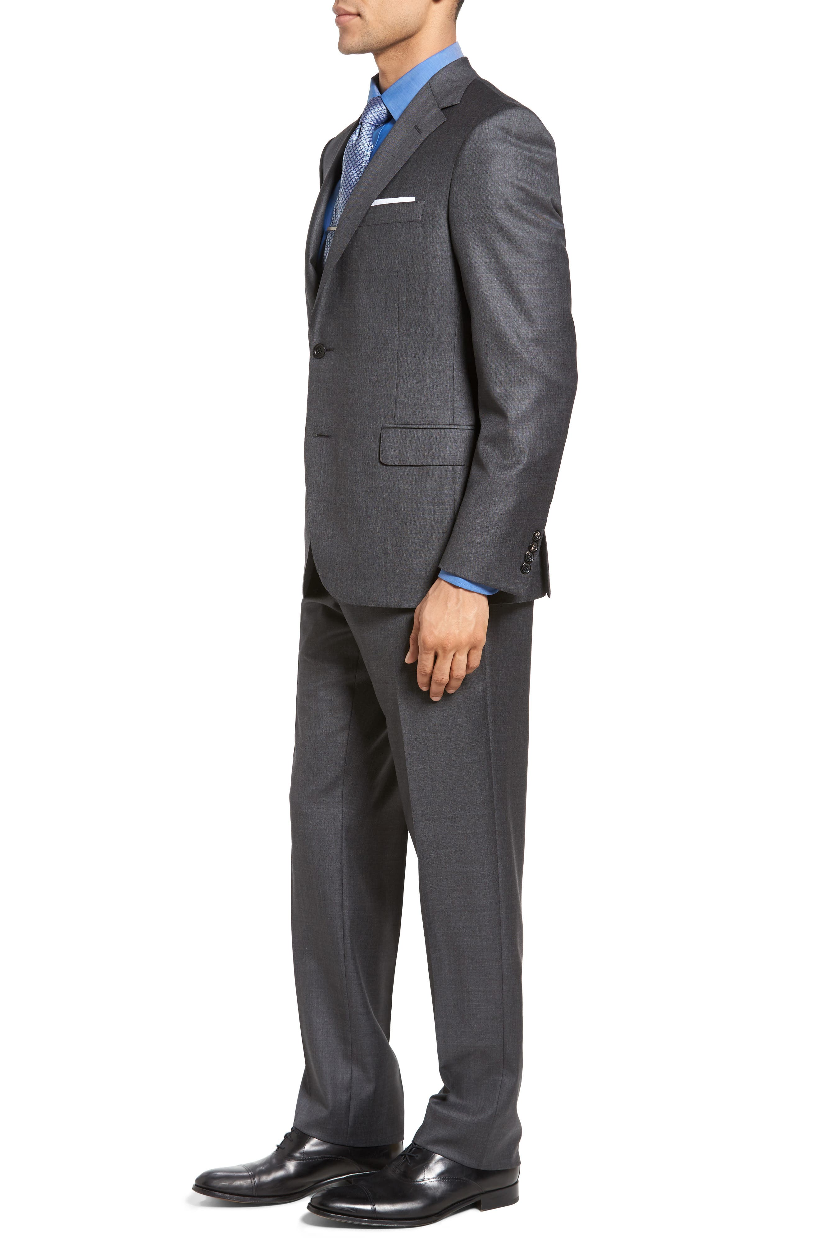 Beckett Classic Fit Sharkskin Wool Suit,                             Alternate thumbnail 3, color,                             Charcoal