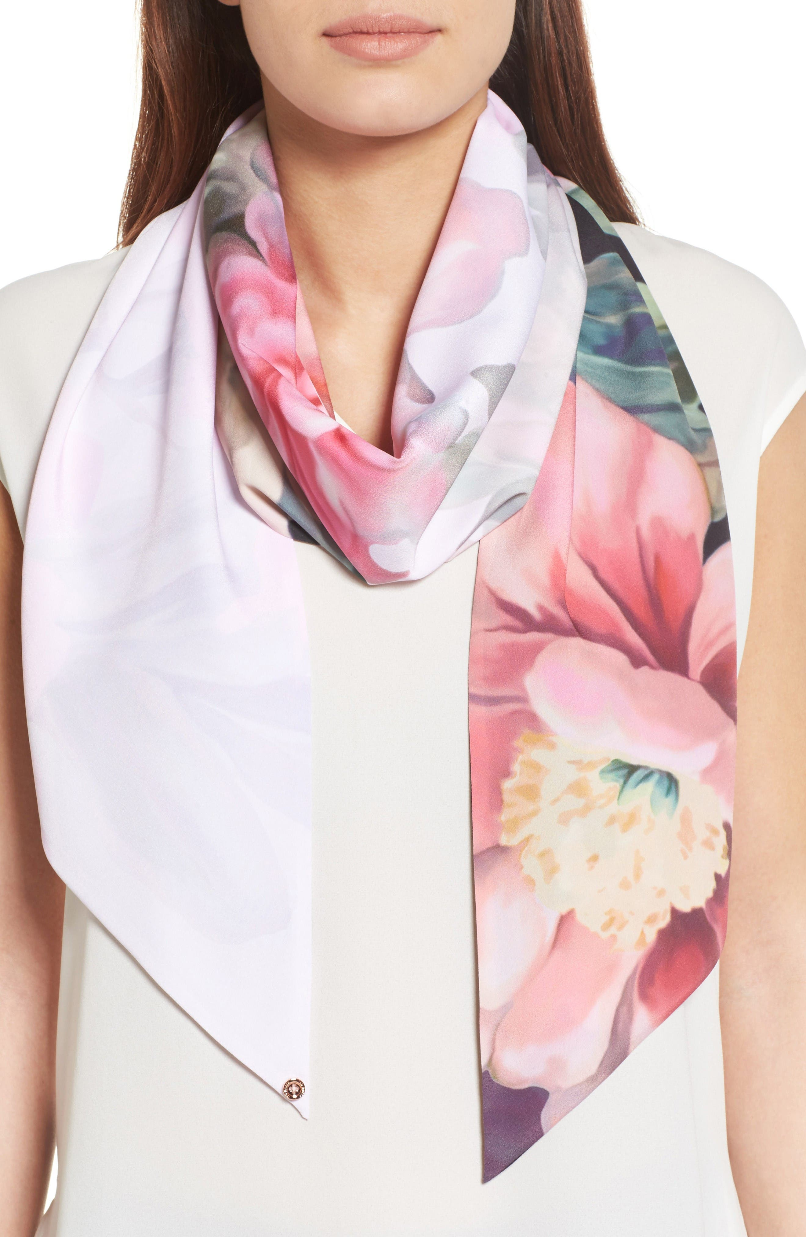 Painted Posie Silk Scarf,                             Main thumbnail 1, color,                             Baby Pink