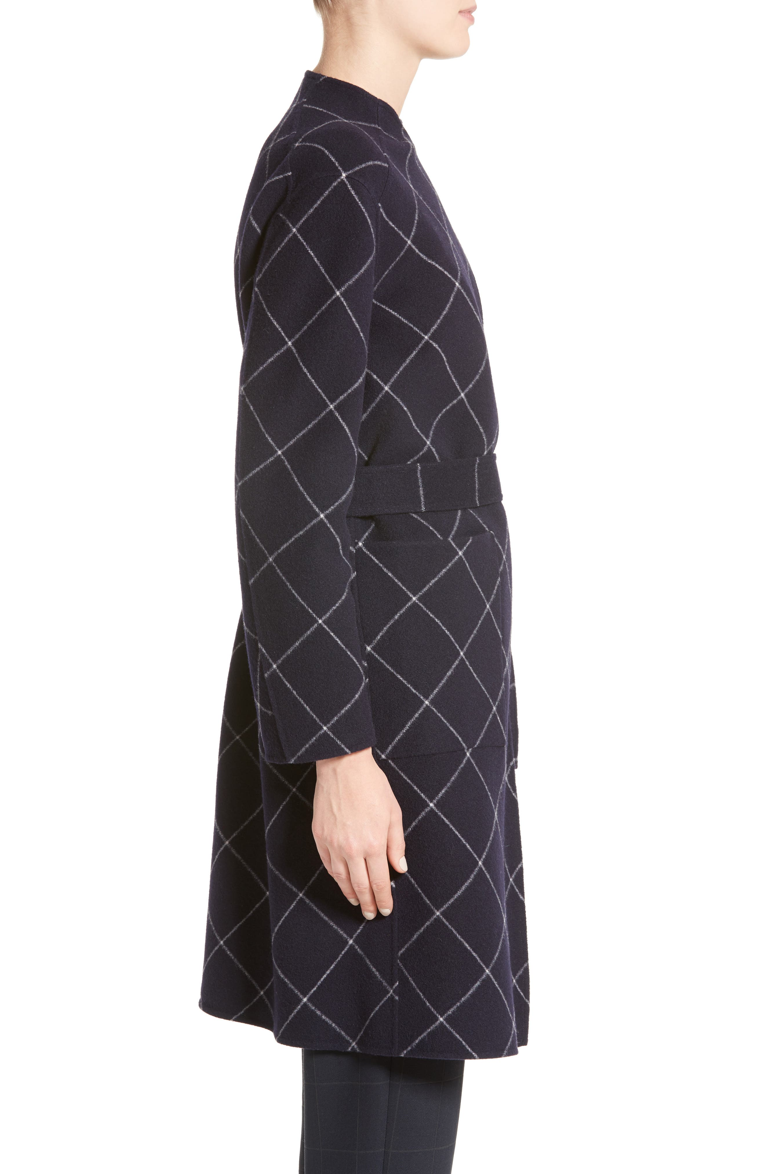 Windowpane Wool & Cashmere Wrap Coat,                             Alternate thumbnail 5, color,                             Navy Multi