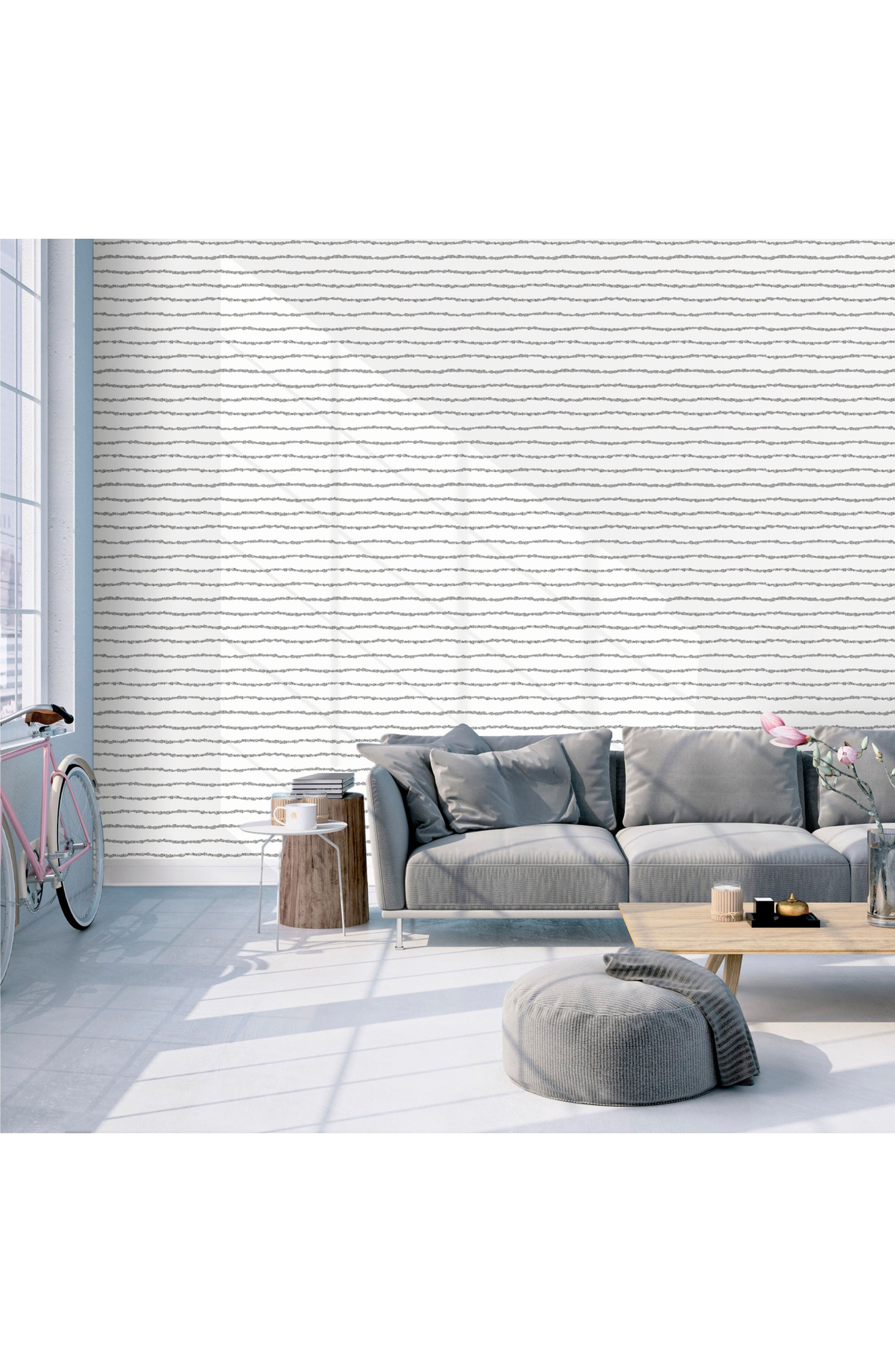 Lines Self-Adhesive Vinyl Wallpaper,                             Alternate thumbnail 2, color,                             Washed On White