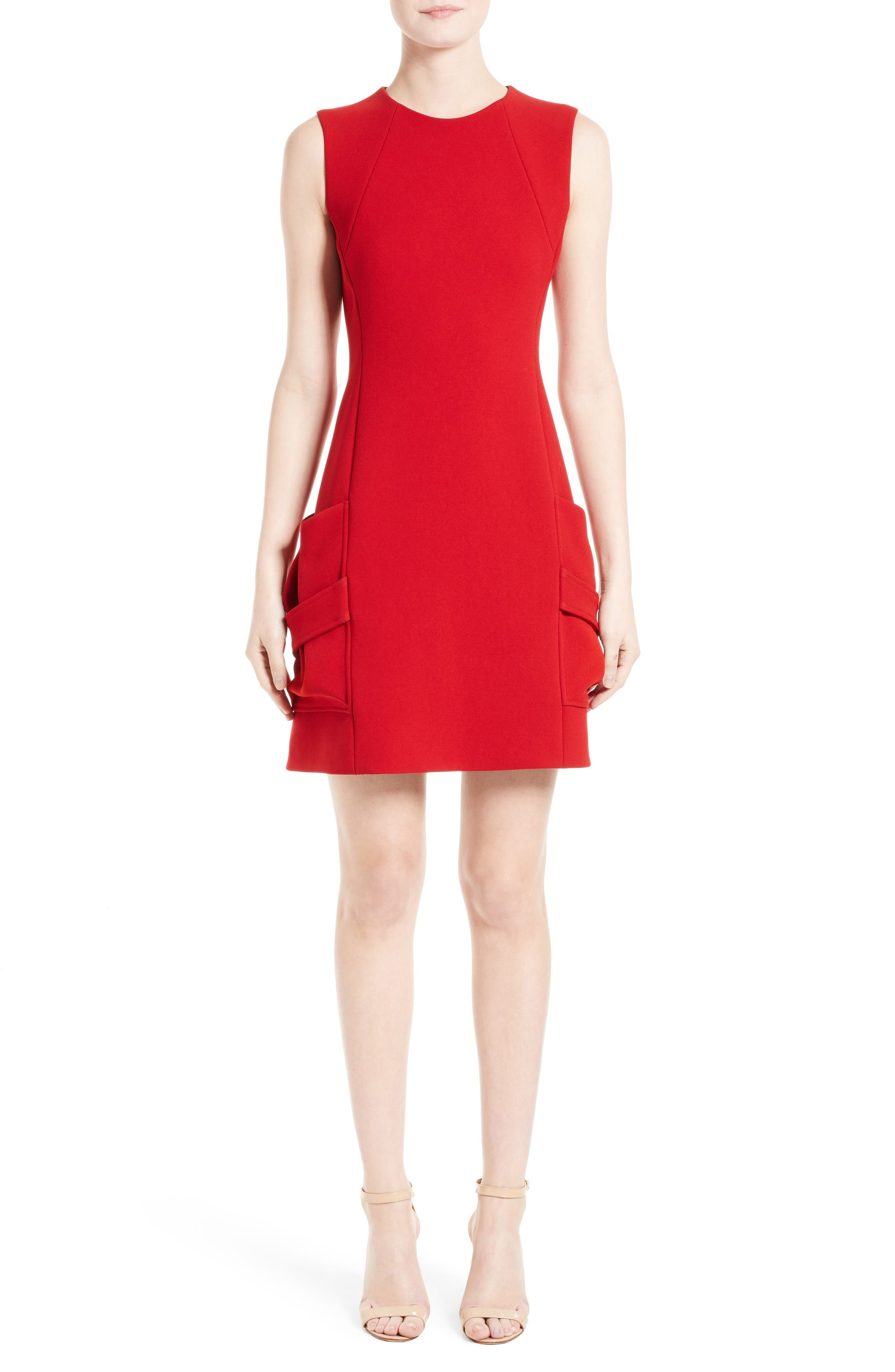 Crepe Minidress,                         Main,                         color, Red