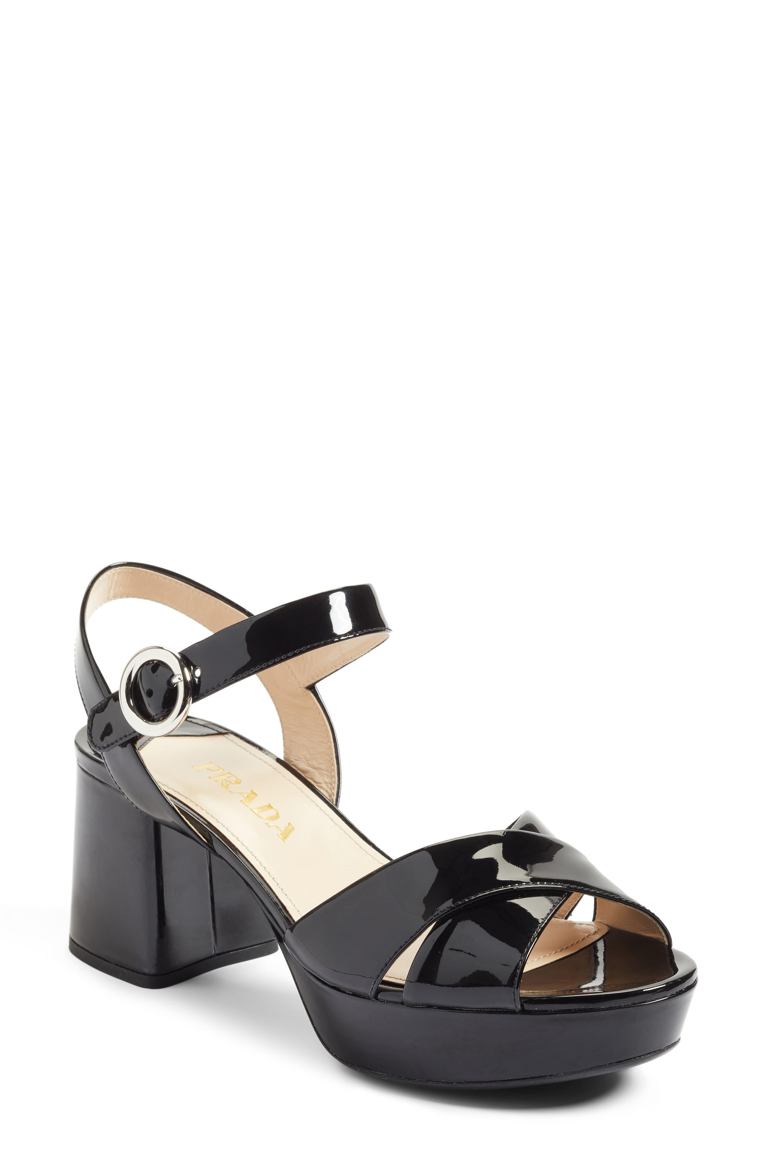 Strappy Platform Sandal,                         Main,                         color, Black Patent
