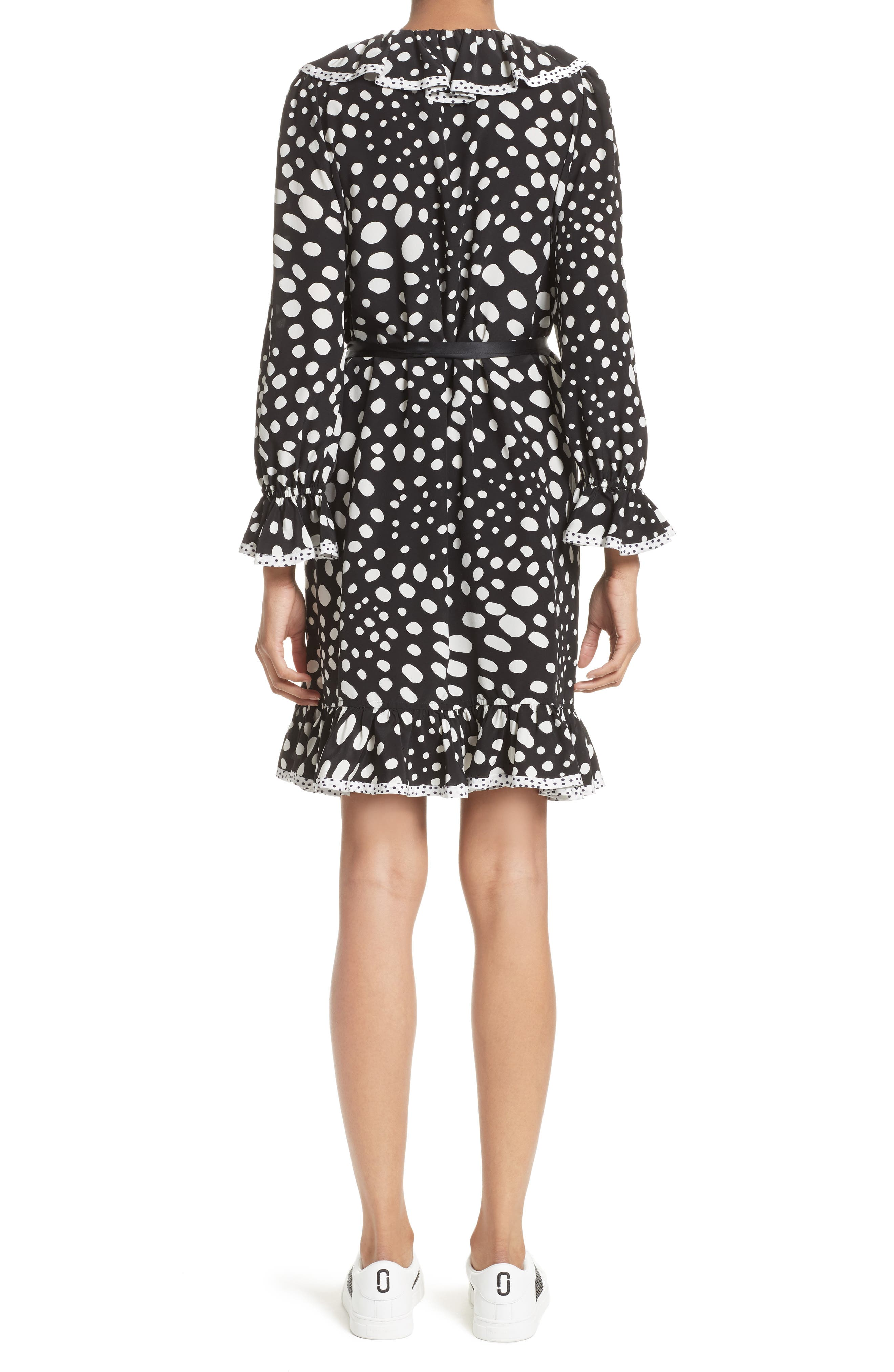 Polka Dot Ruffle Silk Wrap Dress,                             Alternate thumbnail 3, color,                             Black/ White
