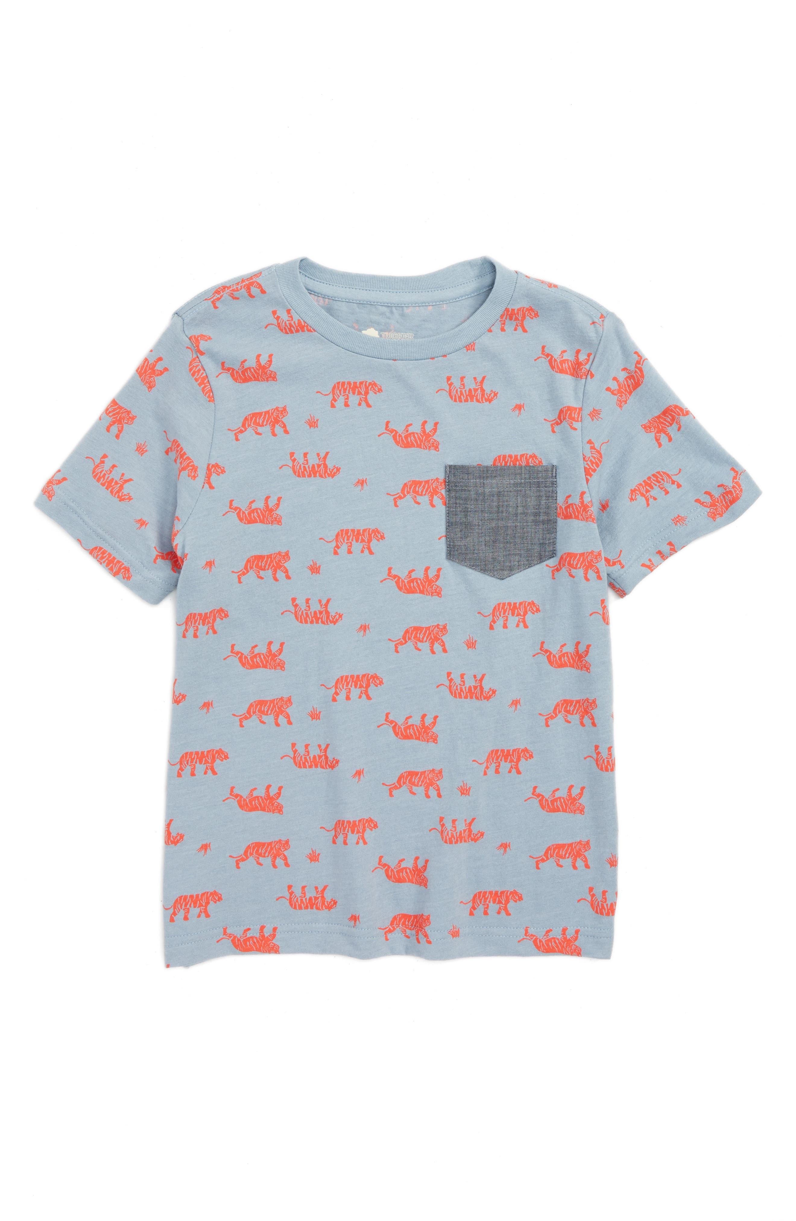 Print Shirt,                         Main,                         color, Blue Ashley Tigers