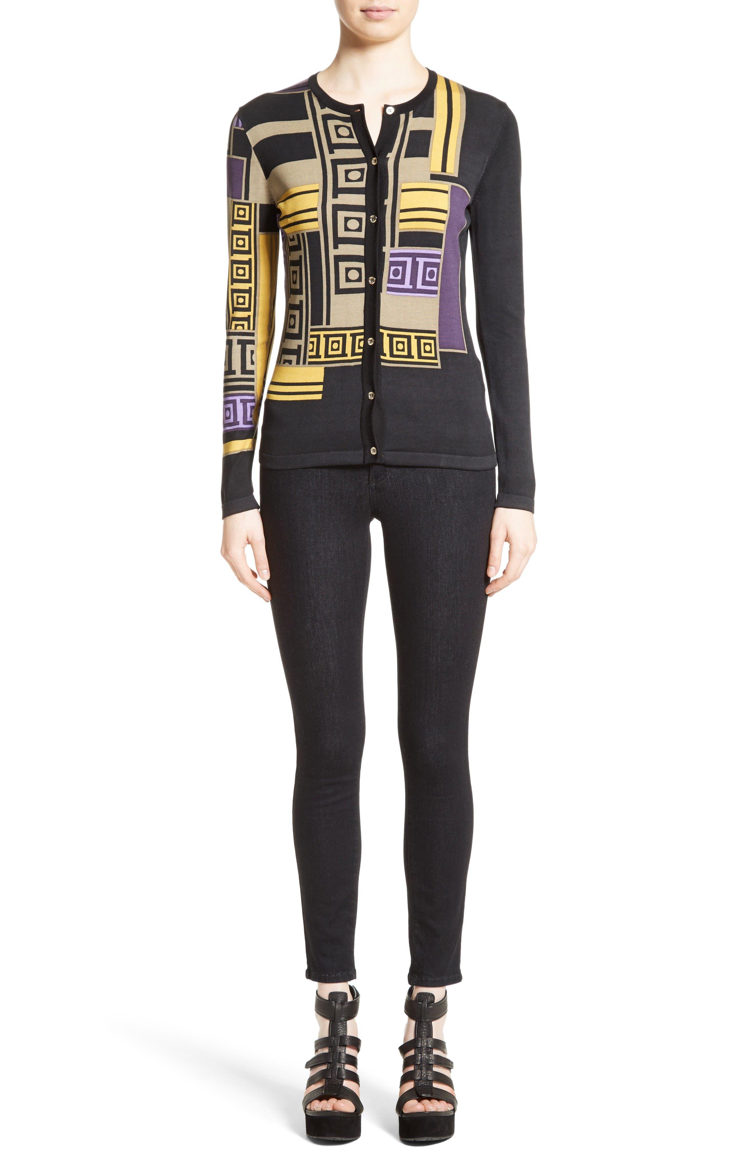 Alternate Image 7  - Versace Collection Tetris Silk Blend Cardigan