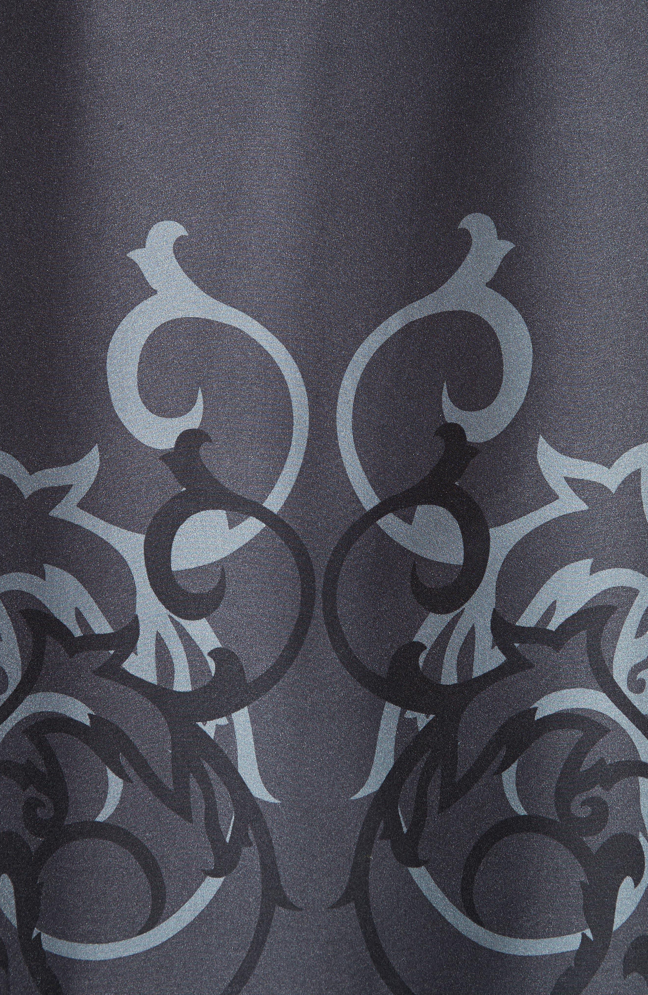 Baroque Print Silk Blouse,                             Alternate thumbnail 3, color,                             Black/ Grey