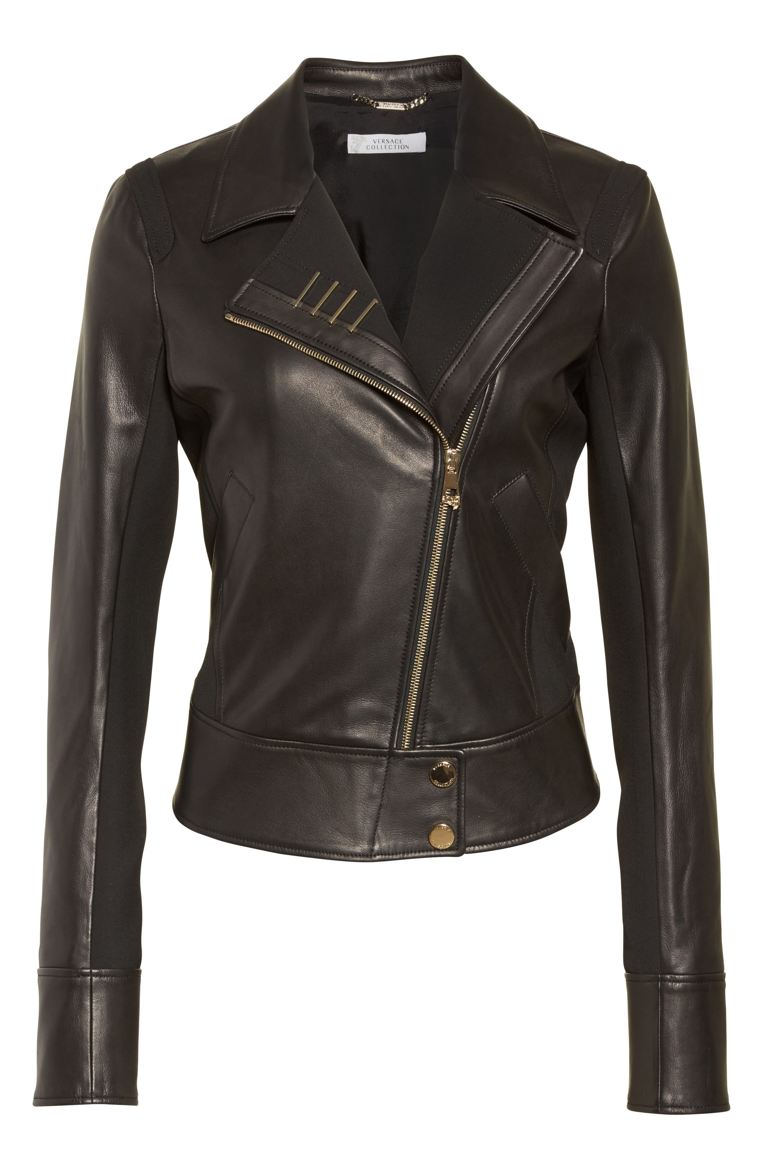 Alternate Image 4  - Versace Collection Asymmetrical Zip Leather Jacket