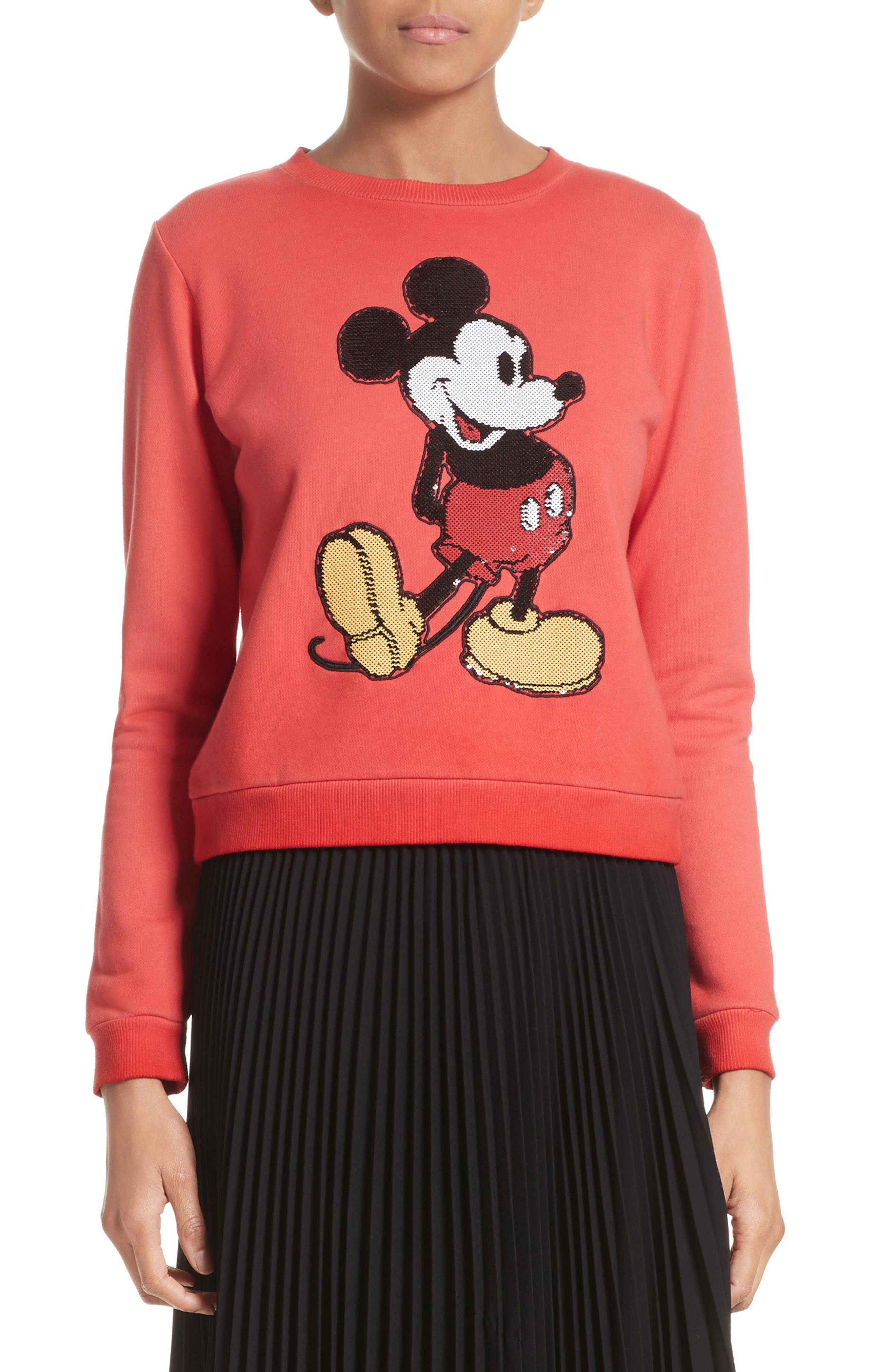 Mickey Shrunken Sweatshirt,                         Main,                         color, Red