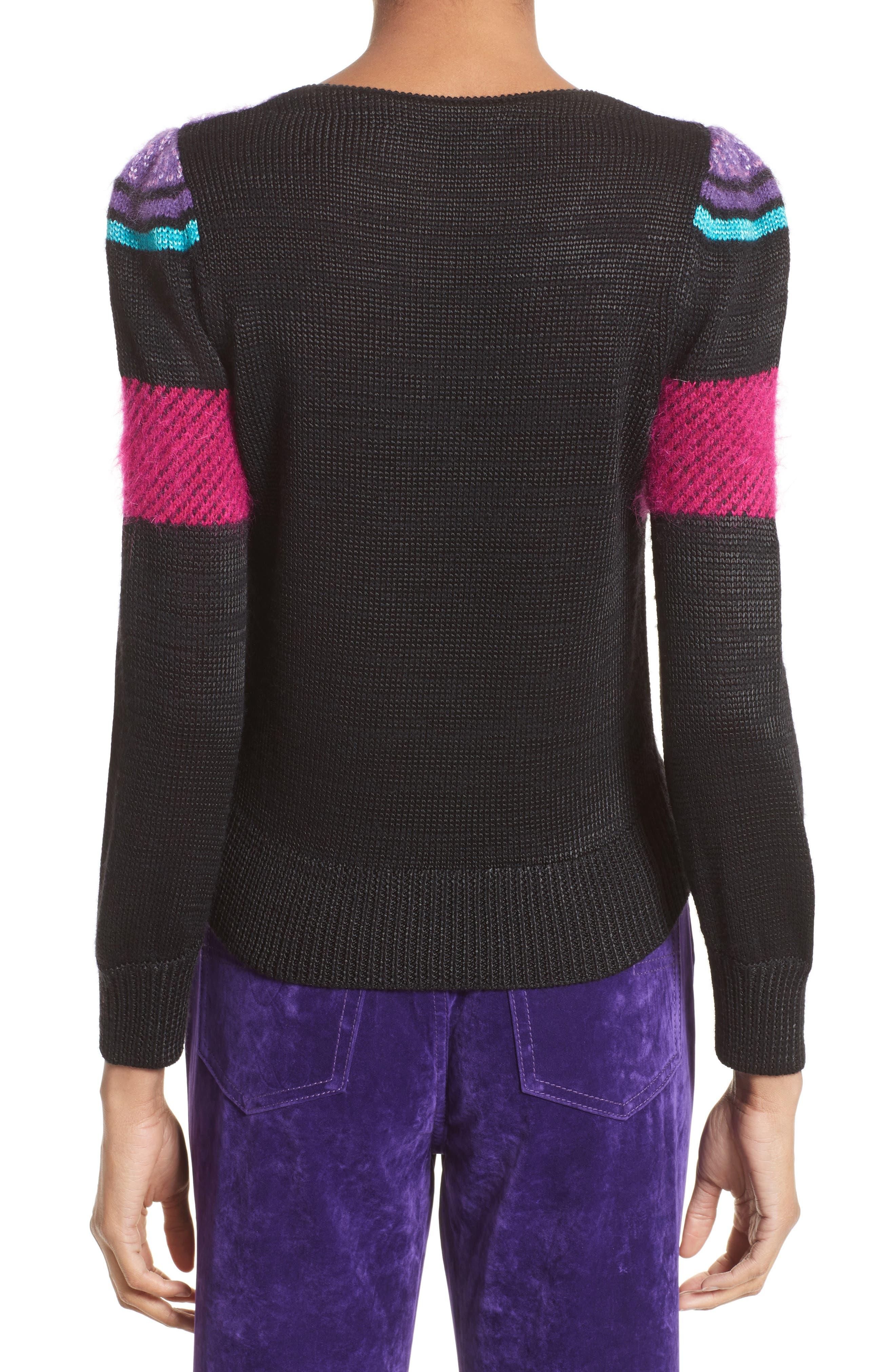 '80s Stripe Knit Sweater,                             Alternate thumbnail 2, color,                             Black Multi