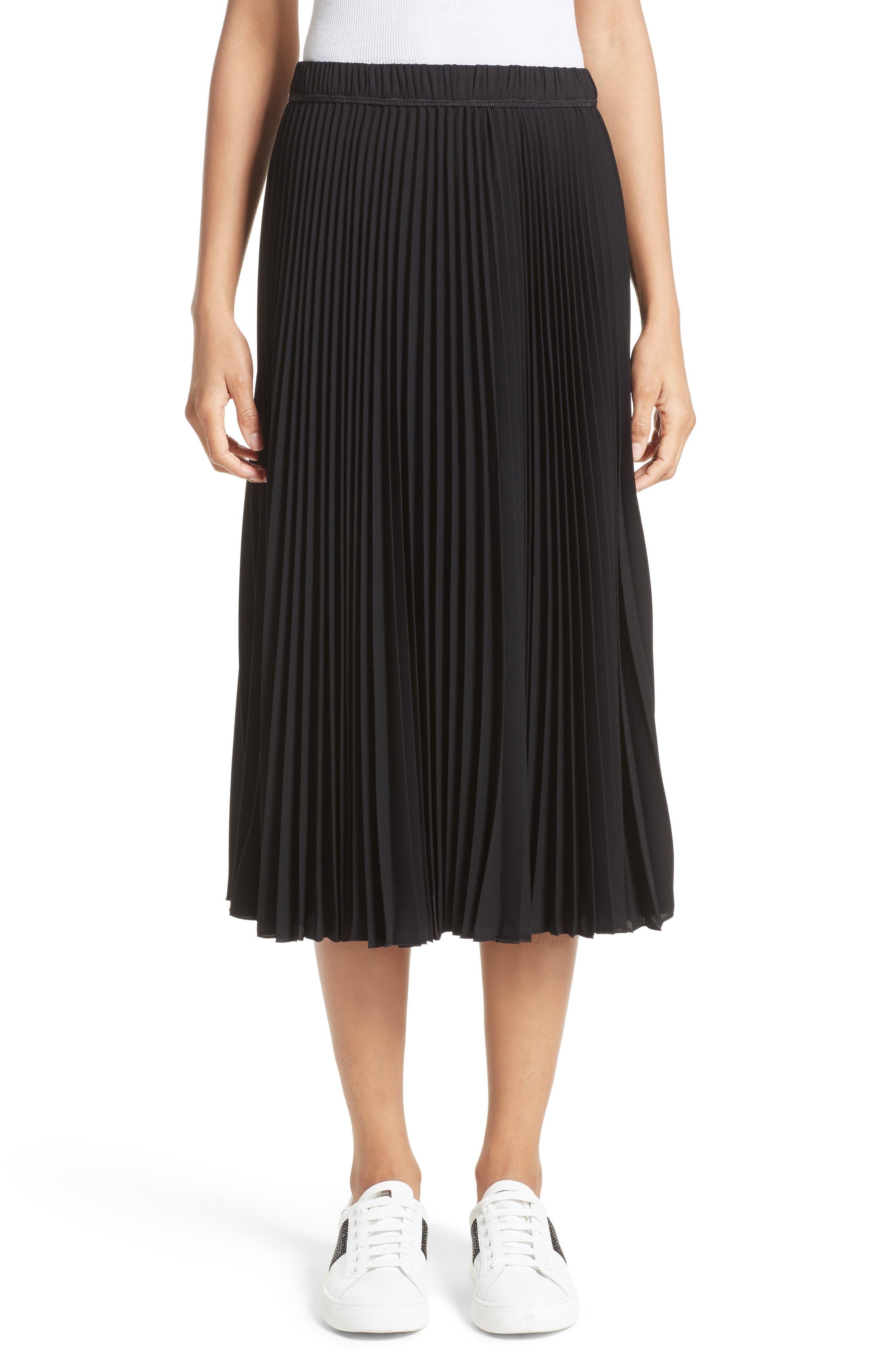 Pleated Crêpe de Chine Midi Skirt,                             Main thumbnail 1, color,                             Black