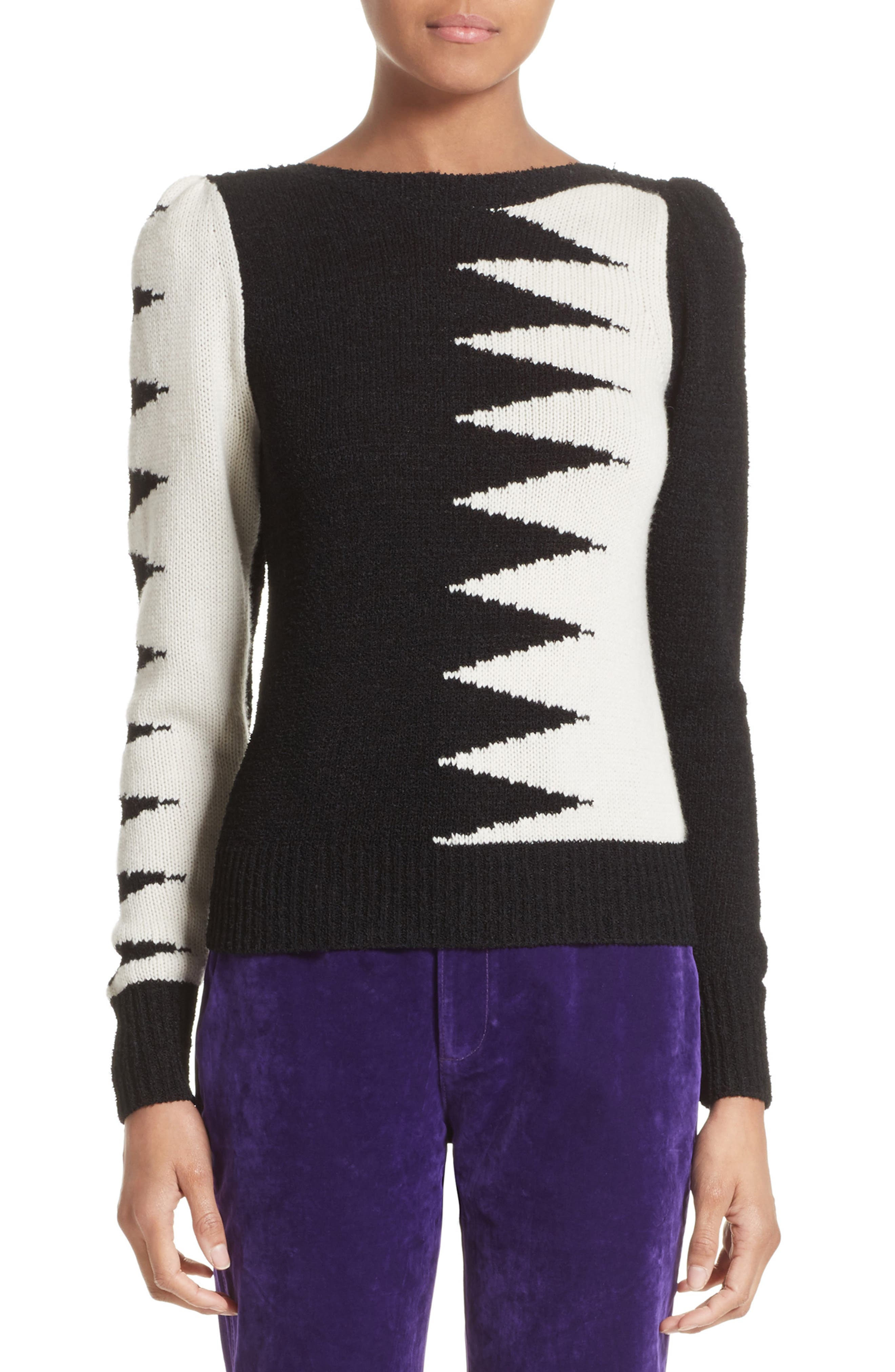 40s Intarsia Sweater,                         Main,                         color, Black Multi