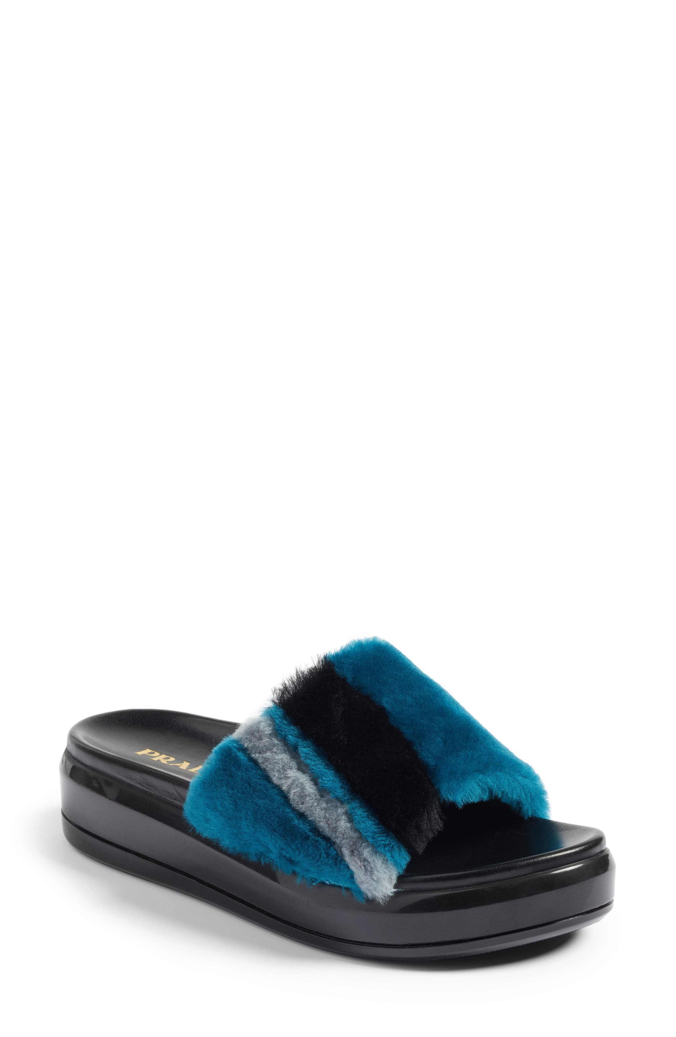 Prada Genuine Shearling Slide Sandal (Women)