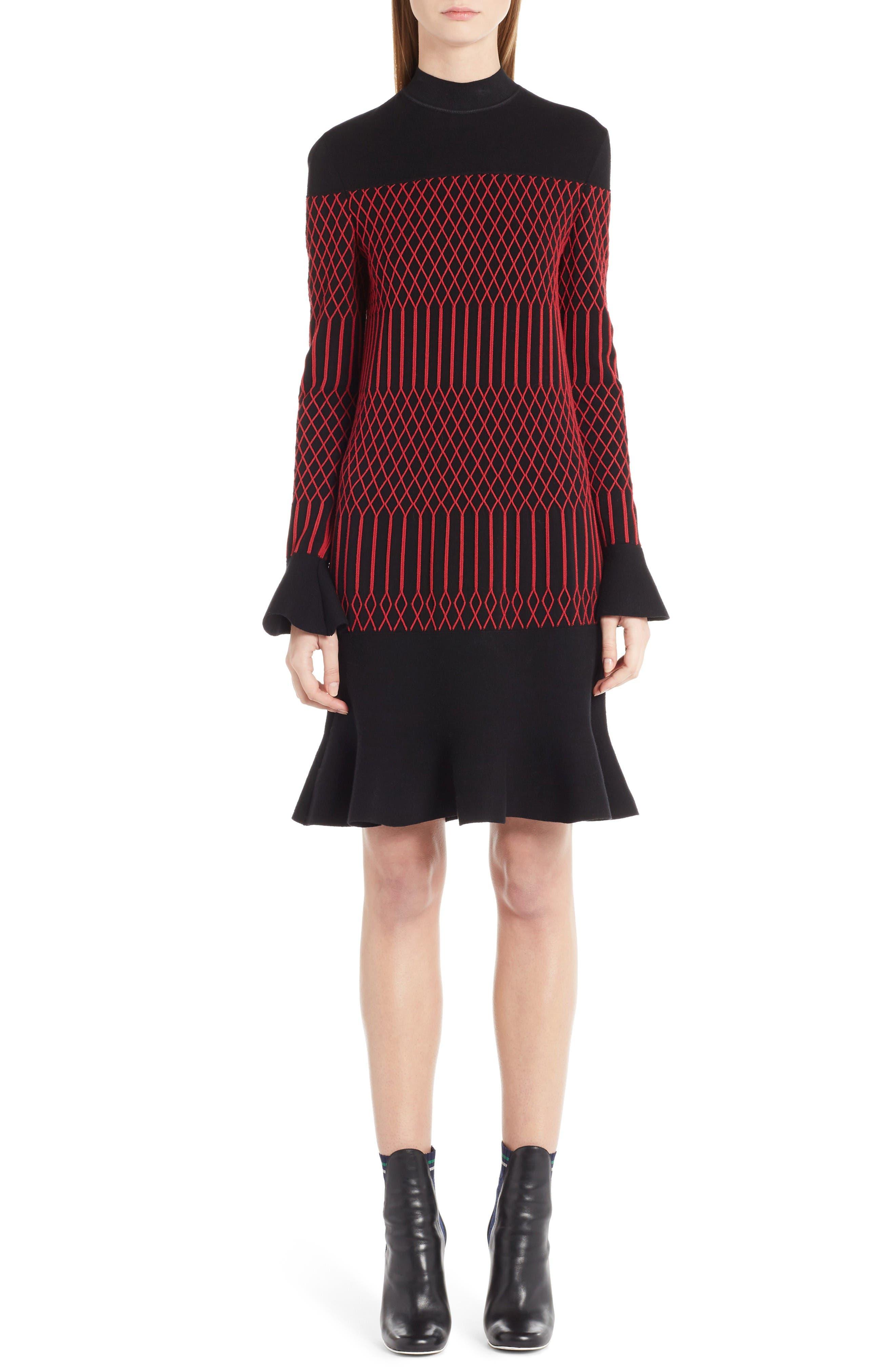 Lozenge Knit Flutter Hem Dress,                             Main thumbnail 1, color,                             Black/ Poppy