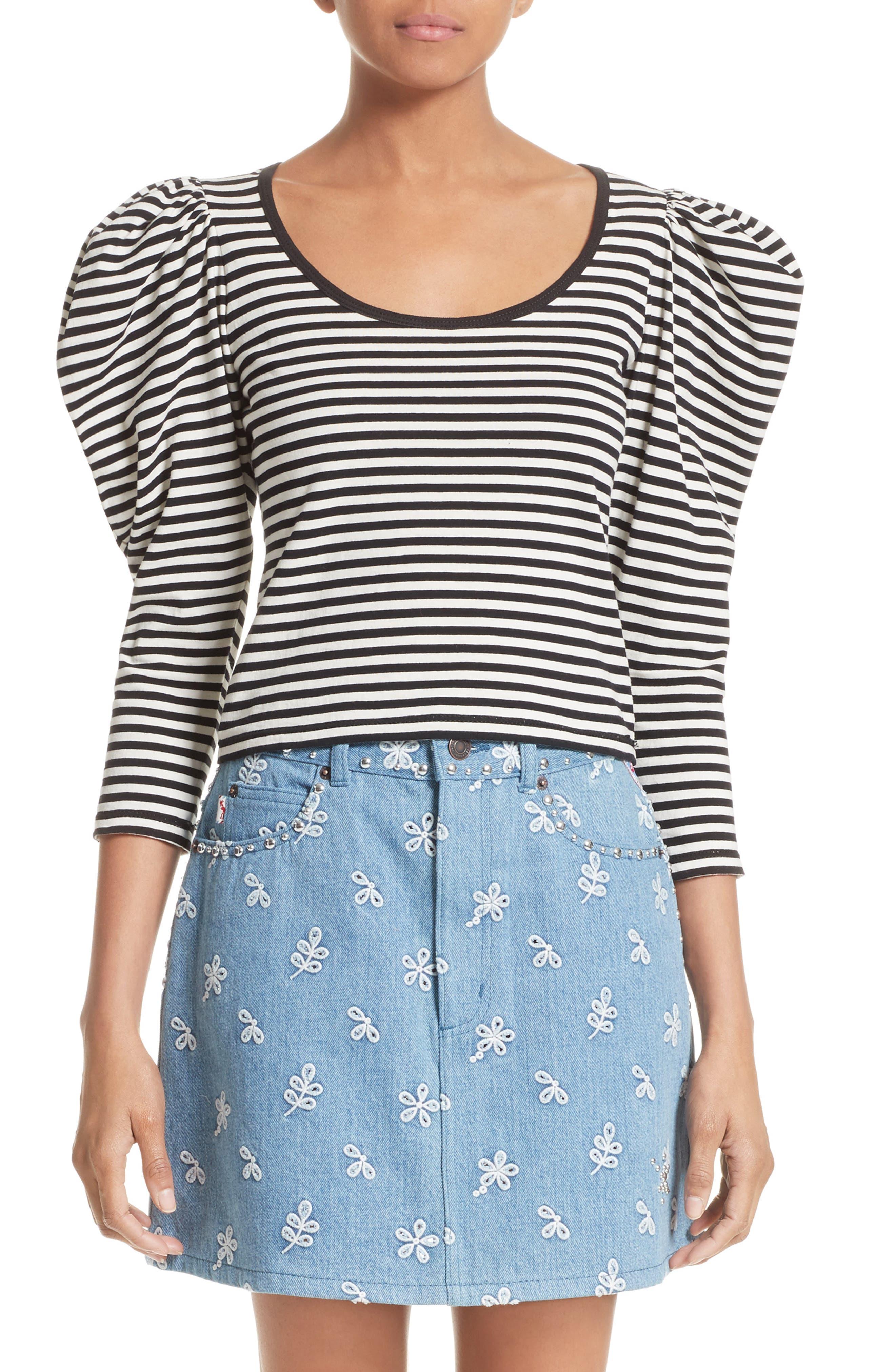 Stripe Cotton Puff Sleeve Top,                         Main,                         color, Black Multi