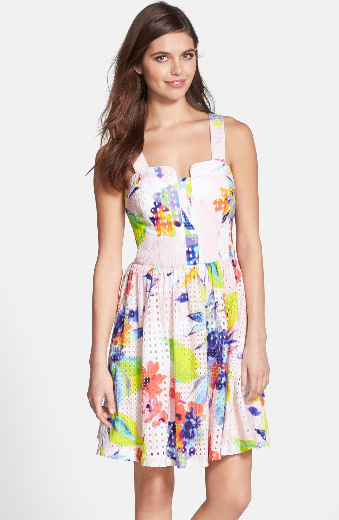 Alternate Image 1 Selected - Trina Turk 'Elin' Print Cotton Eyelet Fit & Flare Dress