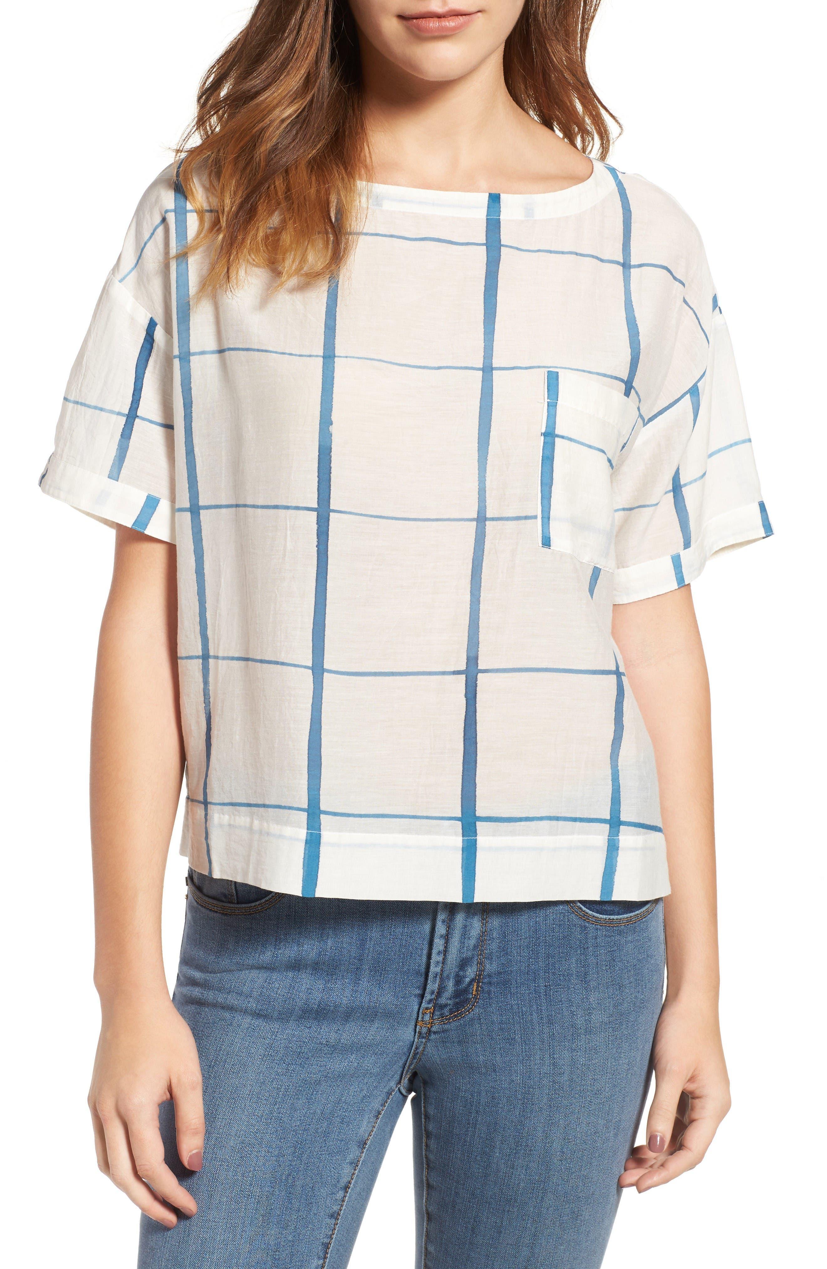 Main Image - Eileen Fisher Check Organic Cotton & Silk Top