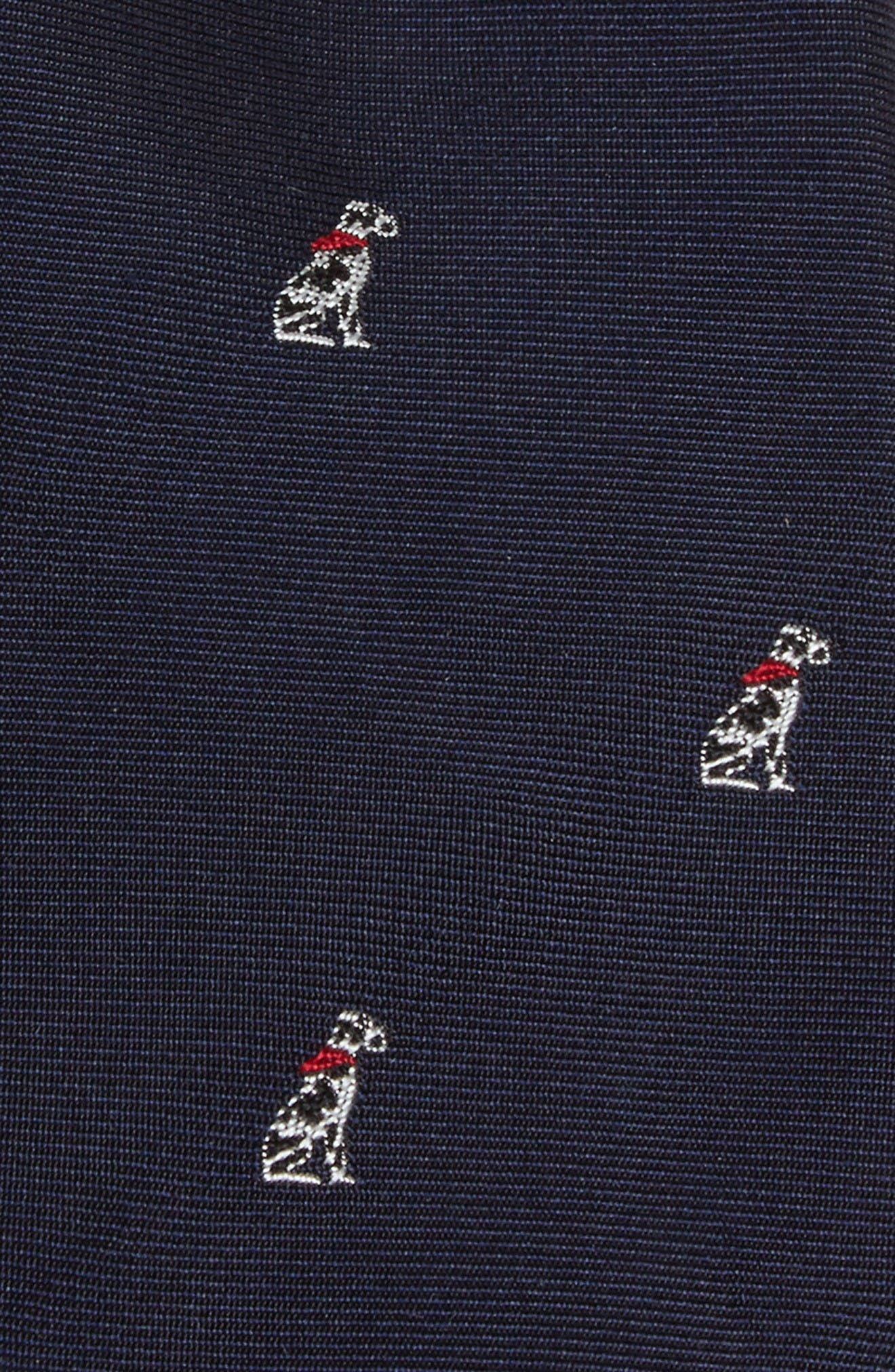 Embroidered Dog Silk Tie,                             Alternate thumbnail 2, color,                             Navy
