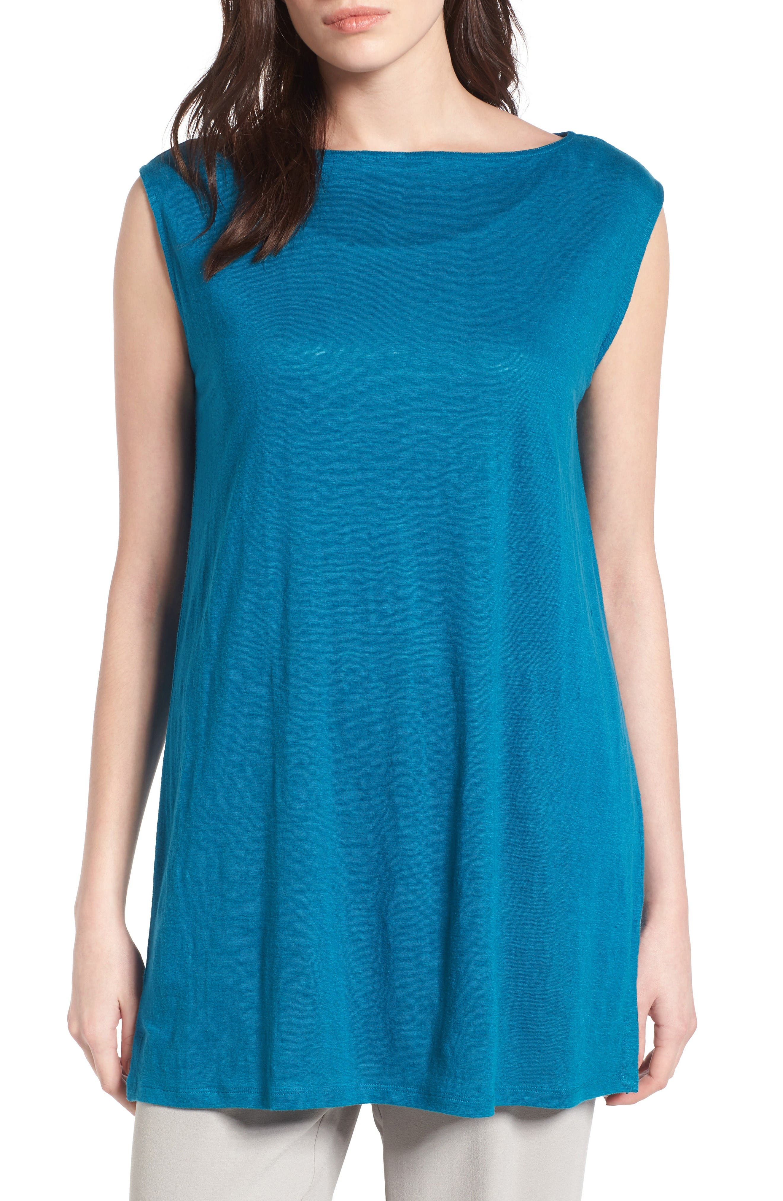 Organic Linen Tunic,                             Main thumbnail 1, color,                             Jewel