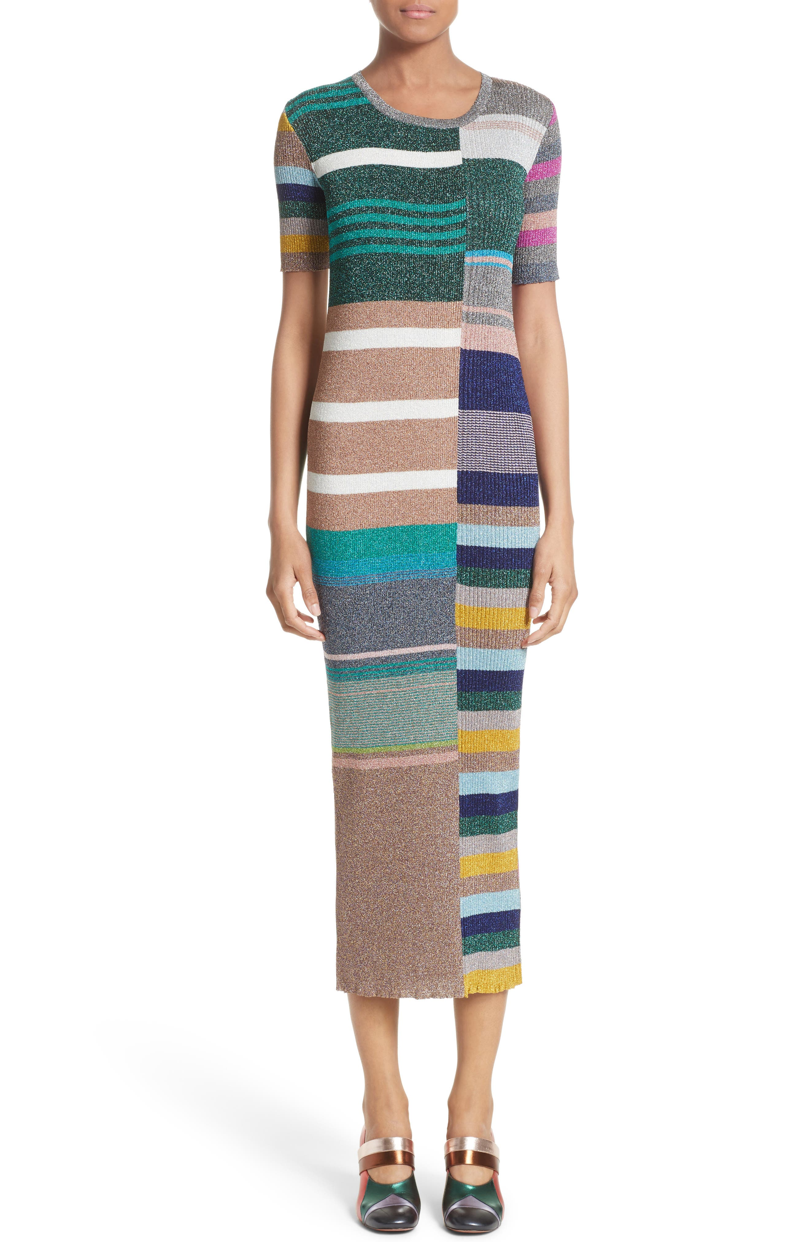 Metallic Stripe Rib Knit Dress,                             Main thumbnail 1, color,                             Multi