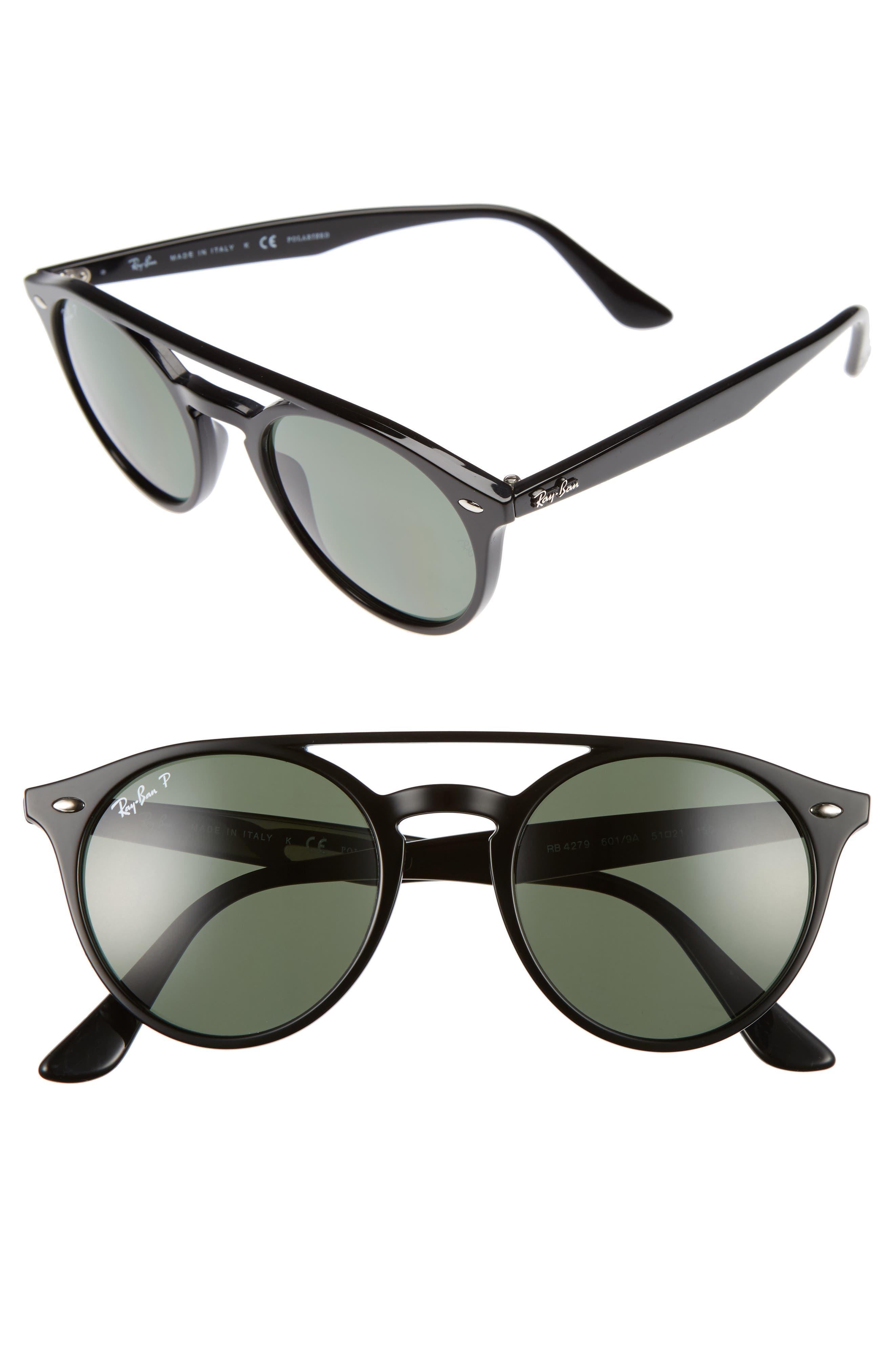 51mm Polarized Round Sunglasses,                         Main,                         color, Black/ Polar
