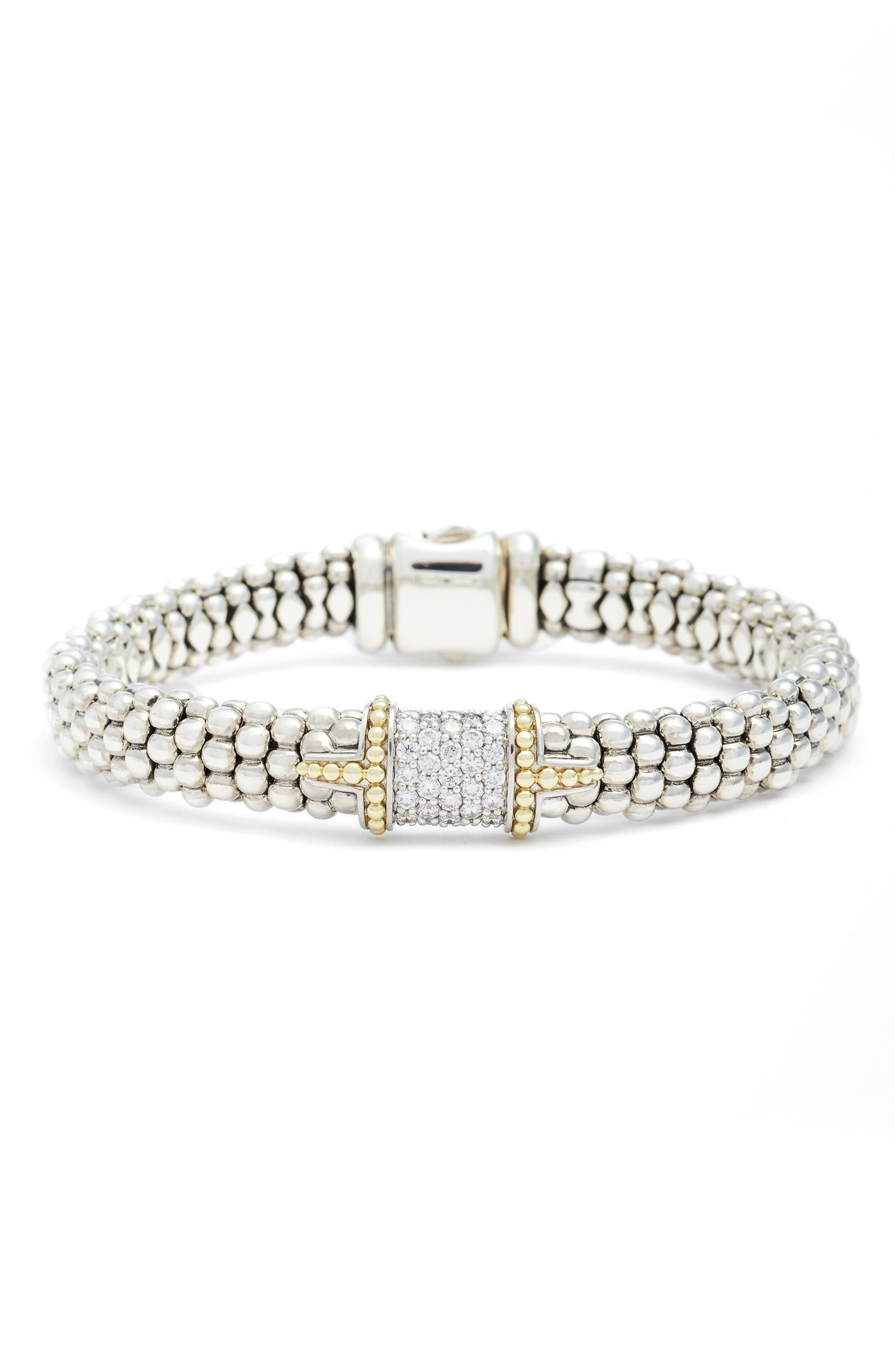 Diamond & Caviar Square Bracelet,                             Main thumbnail 1, color,                             Silver