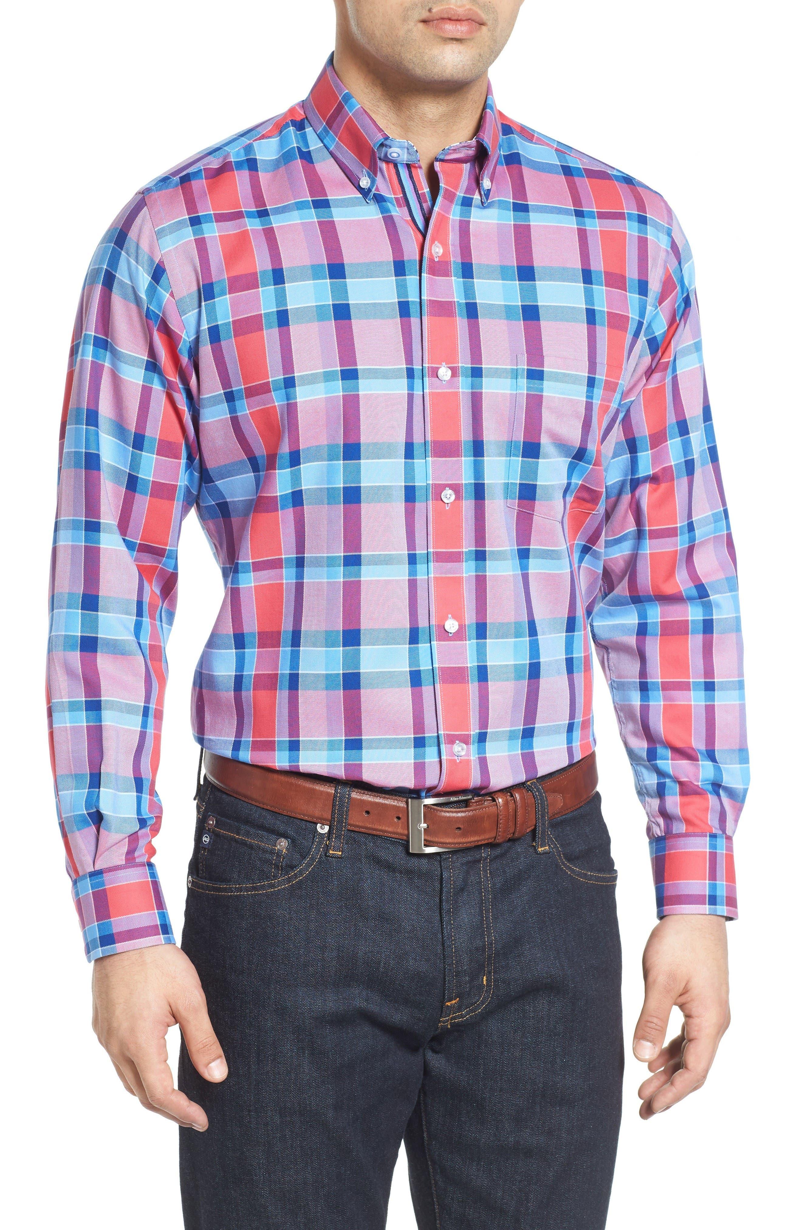Redwood Plaid Sport Shirt,                         Main,                         color, Coral