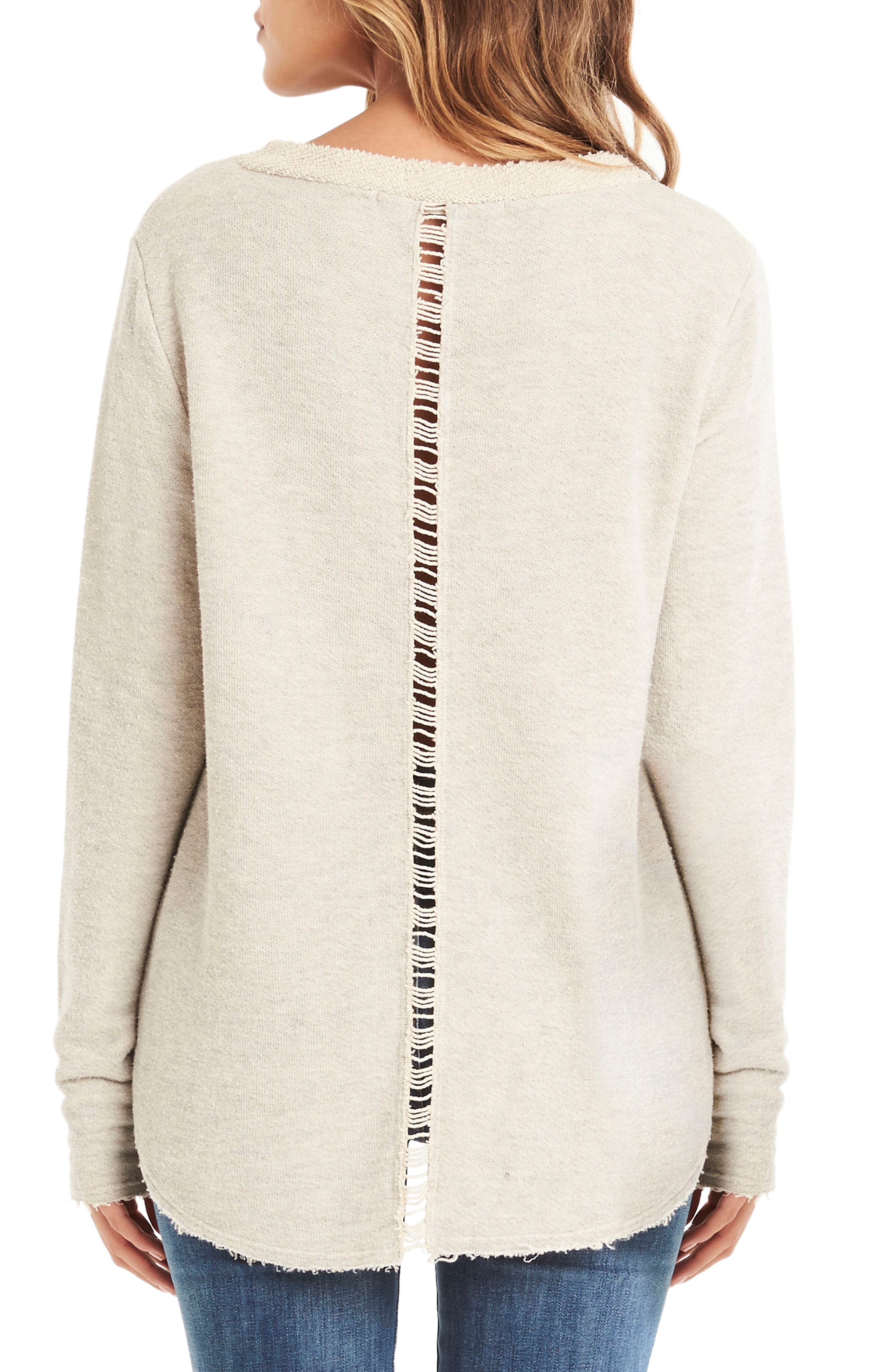 Distressed Sweatshirt,                             Alternate thumbnail 2, color,                             Chalk