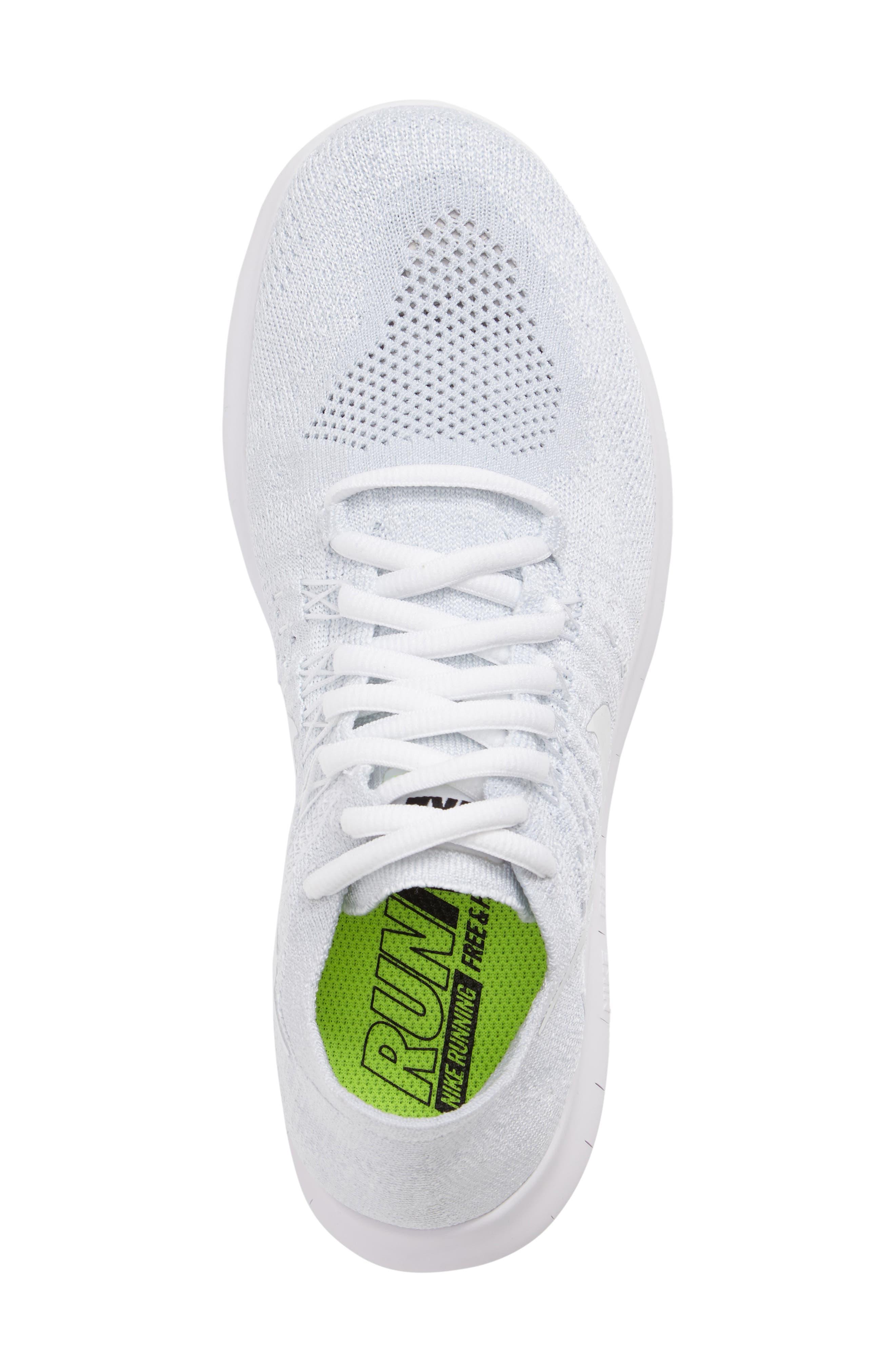 Free Run Flyknit 2 Running Shoe,                             Alternate thumbnail 5, color,                             White/ Platinum/ Black