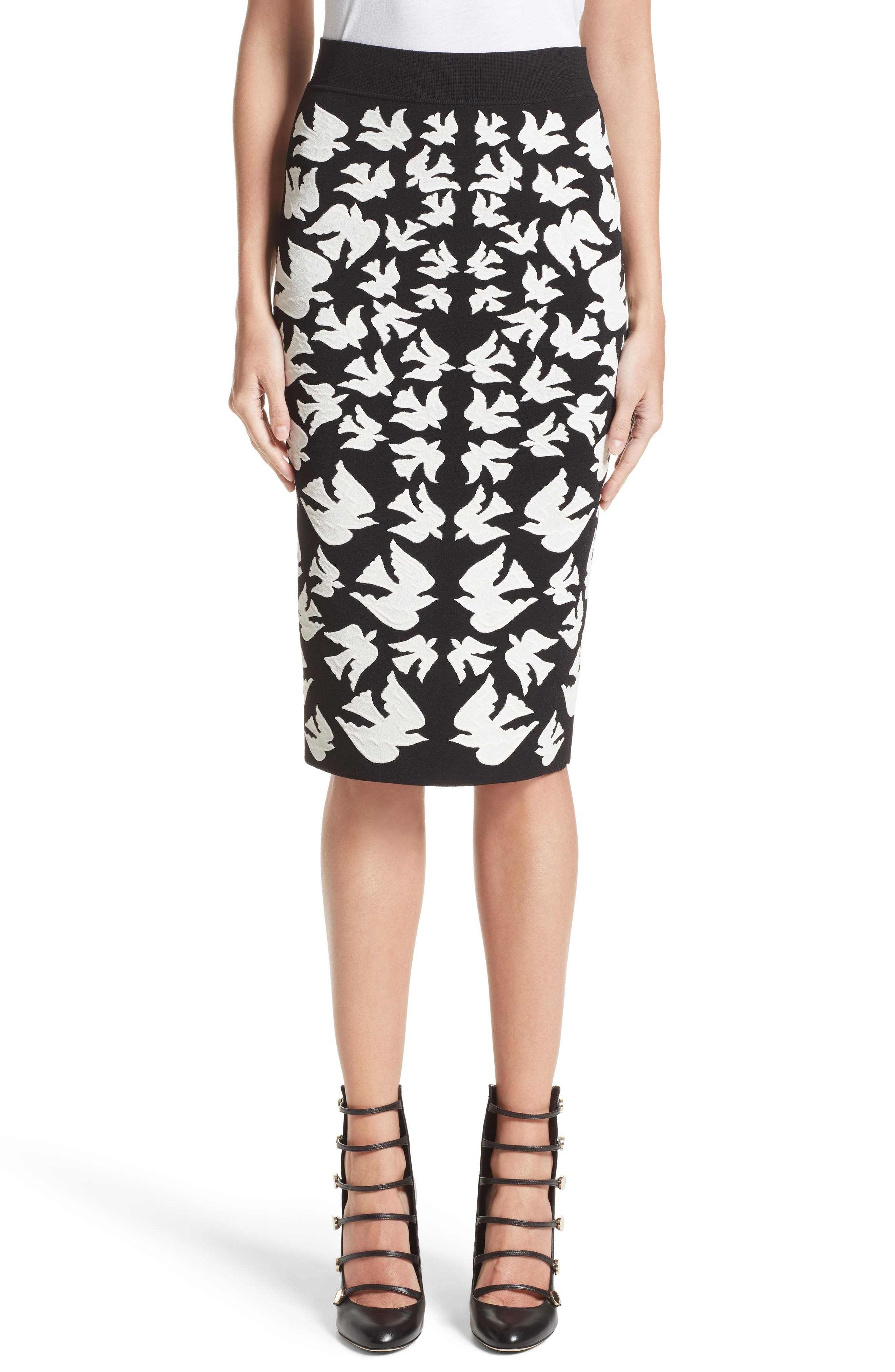 Alexander McQueen Swallow Jacquard Pencil Skirt