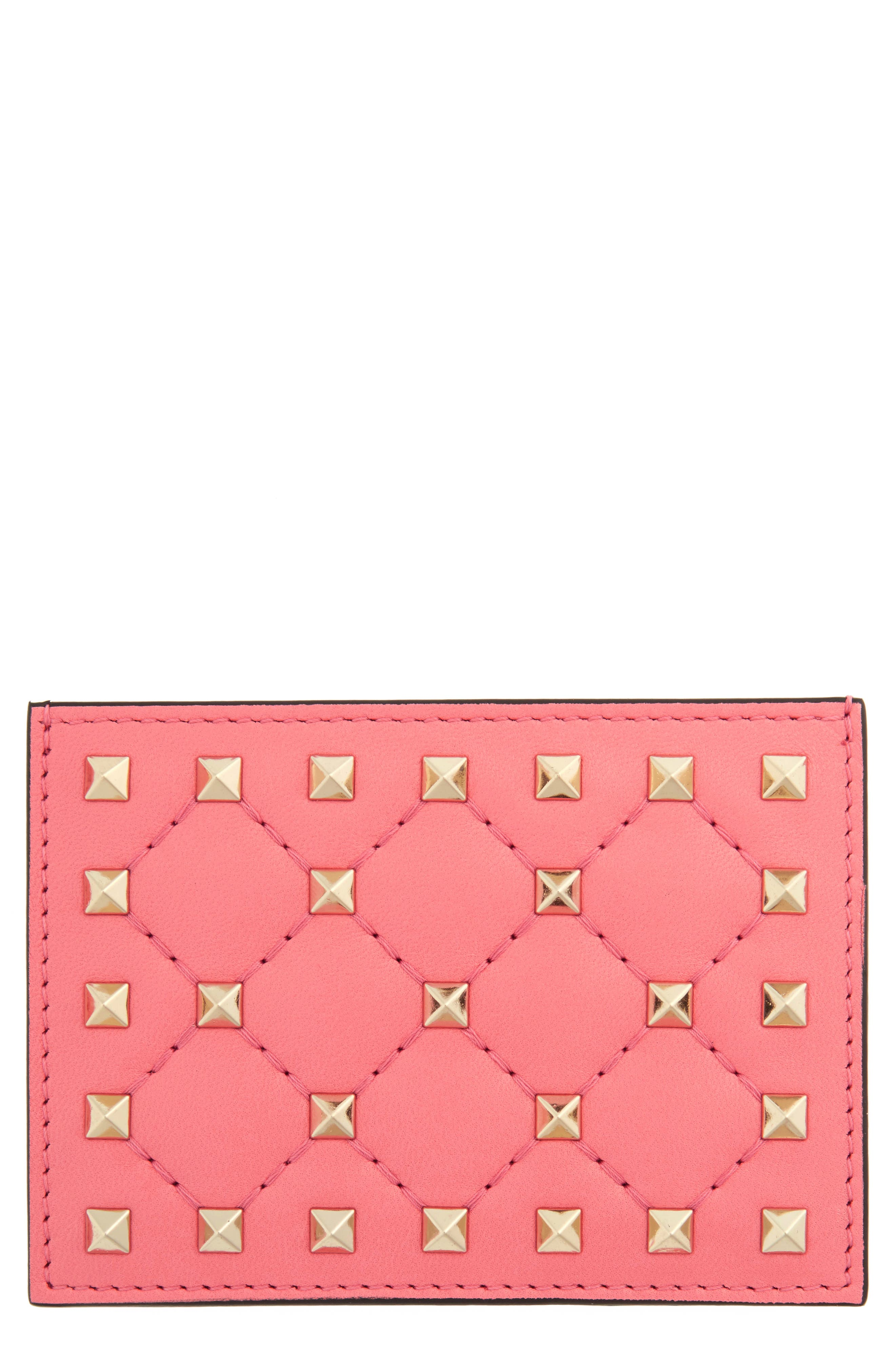 Rockstud Nappa Leather Card Case,                             Main thumbnail 1, color,                             Paradise Rose