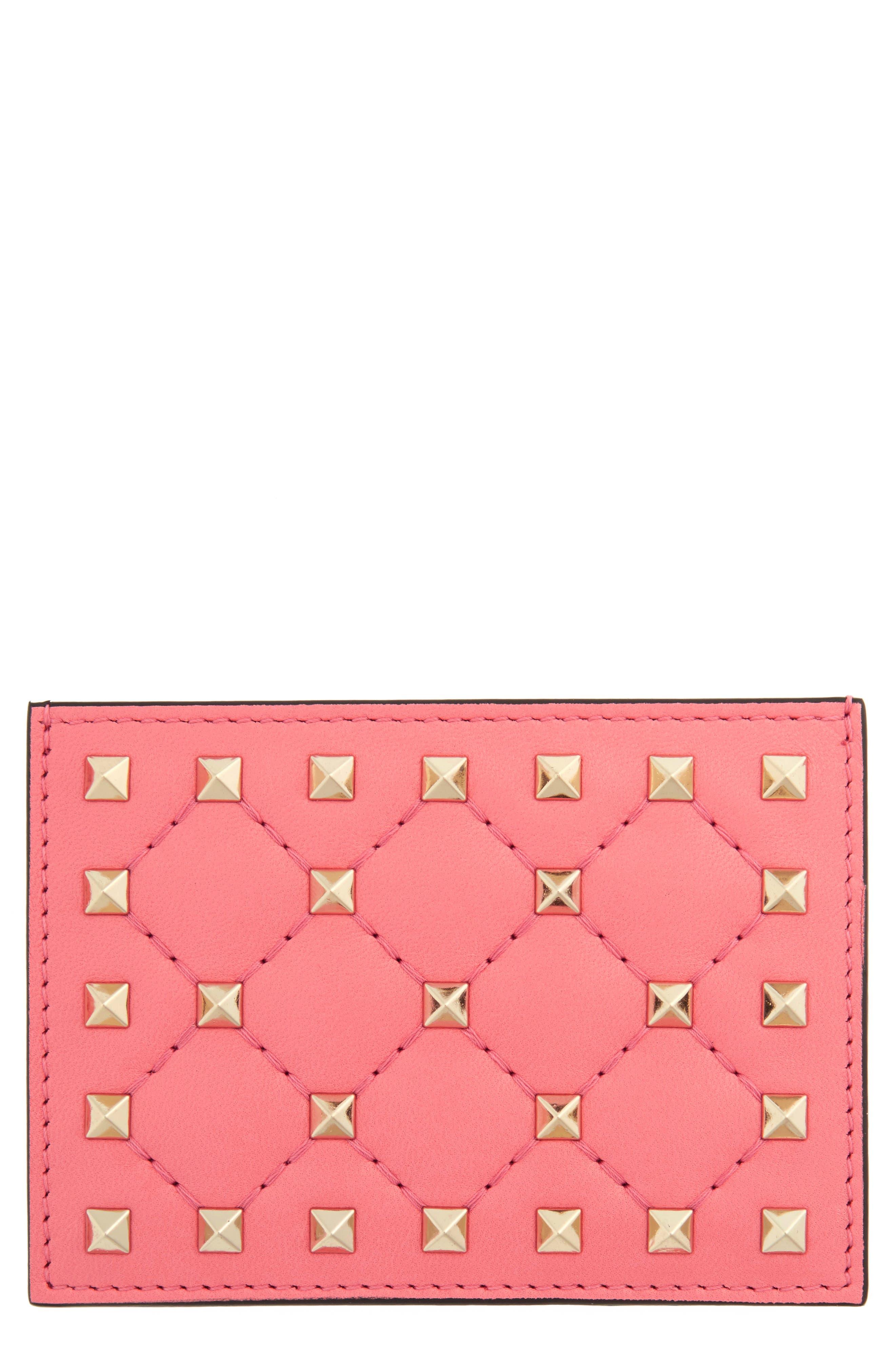 Main Image - VALENTINO GARAVANI Rockstud Nappa Leather Card Case
