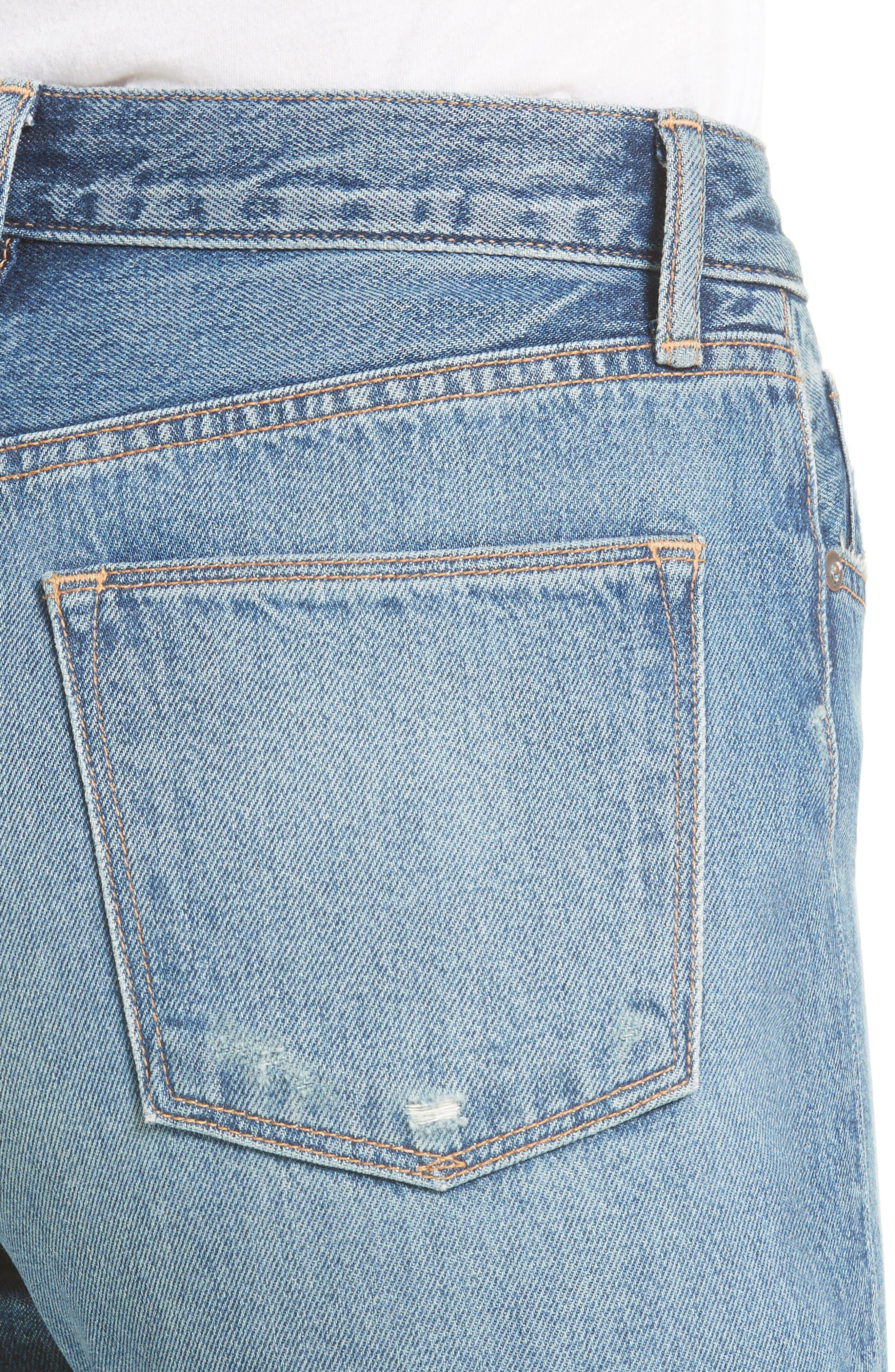 High Waist Vintage Straight Leg Jeans,                             Alternate thumbnail 4, color,                             Medium Wash