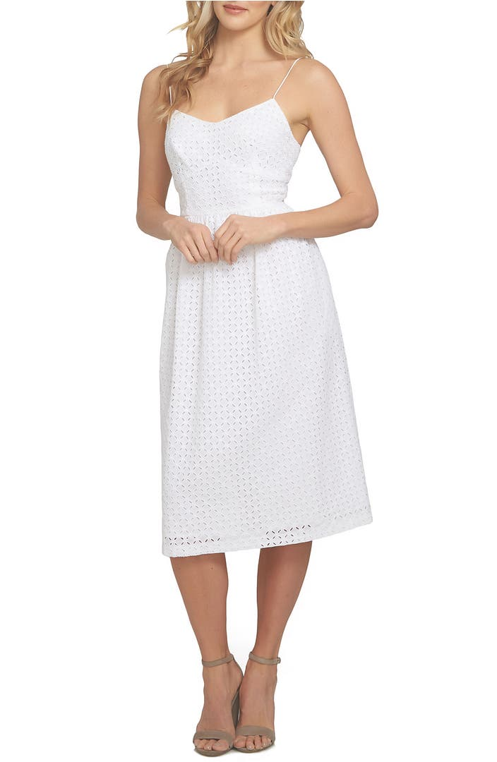 Main Image - CeCe Aurora Eyelet Midi Dress (Regular & Petite)