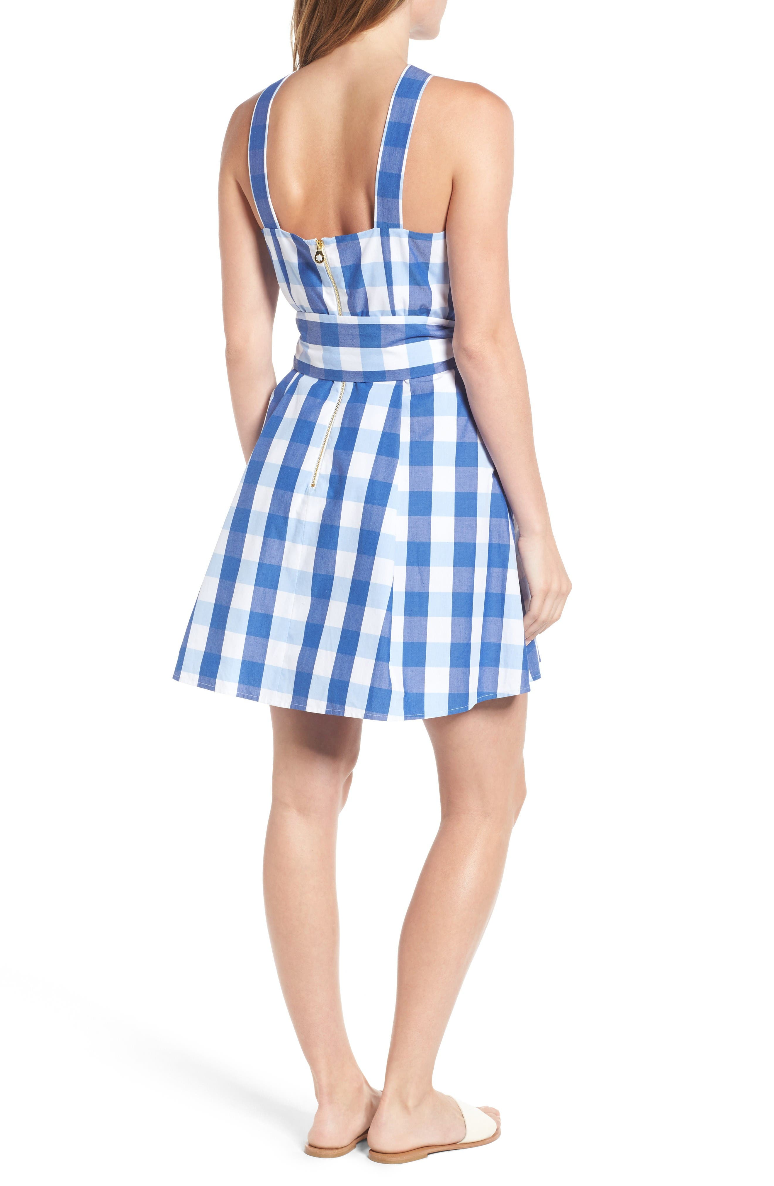 Mary Beth Cotton Sundress,                             Alternate thumbnail 4, color,                             Blue Parton Check