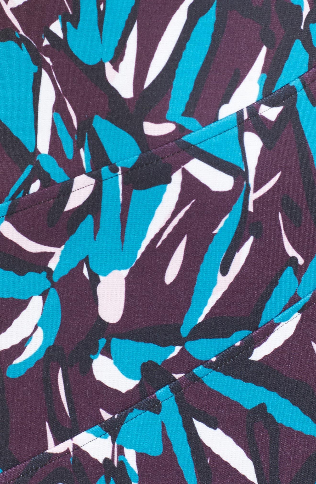 Ponte Pencil Dress,                             Alternate thumbnail 6, color,                             Plum Multi