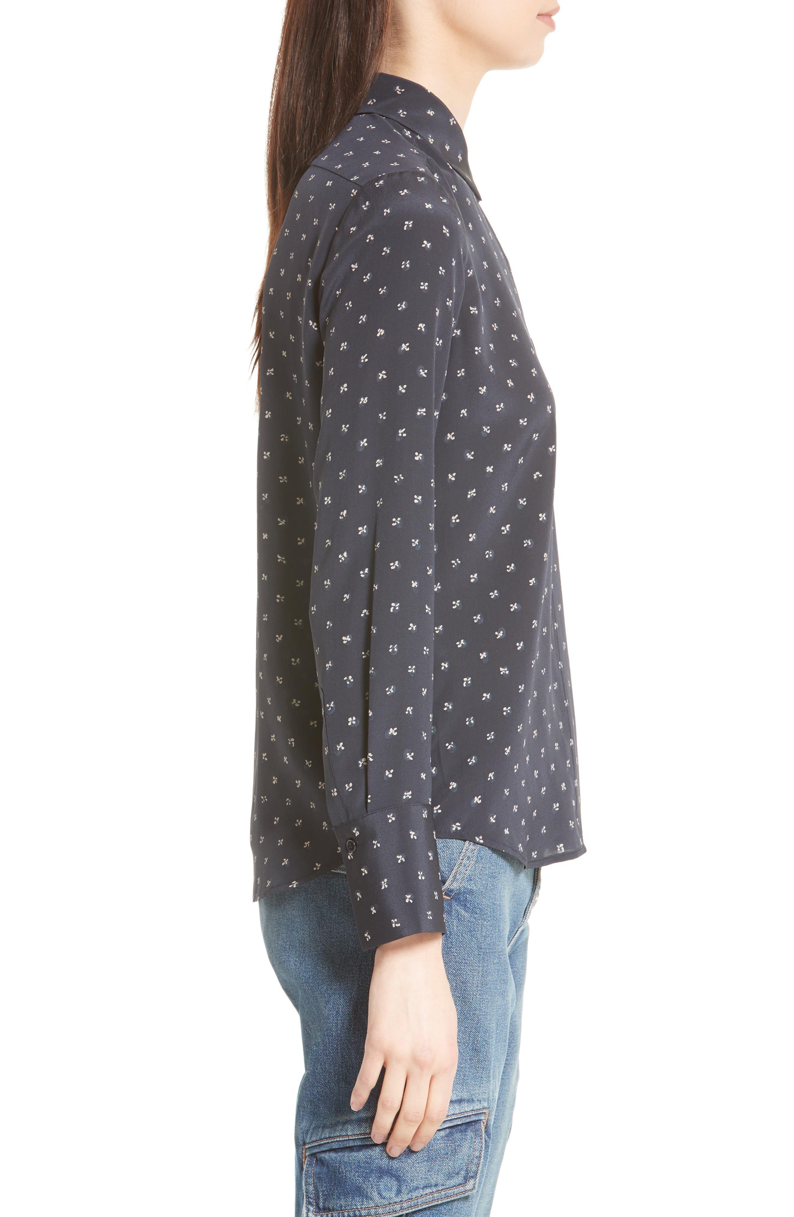 Refined Dot Slim Silk Shirt,                             Alternate thumbnail 3, color,                             Coastal Blue