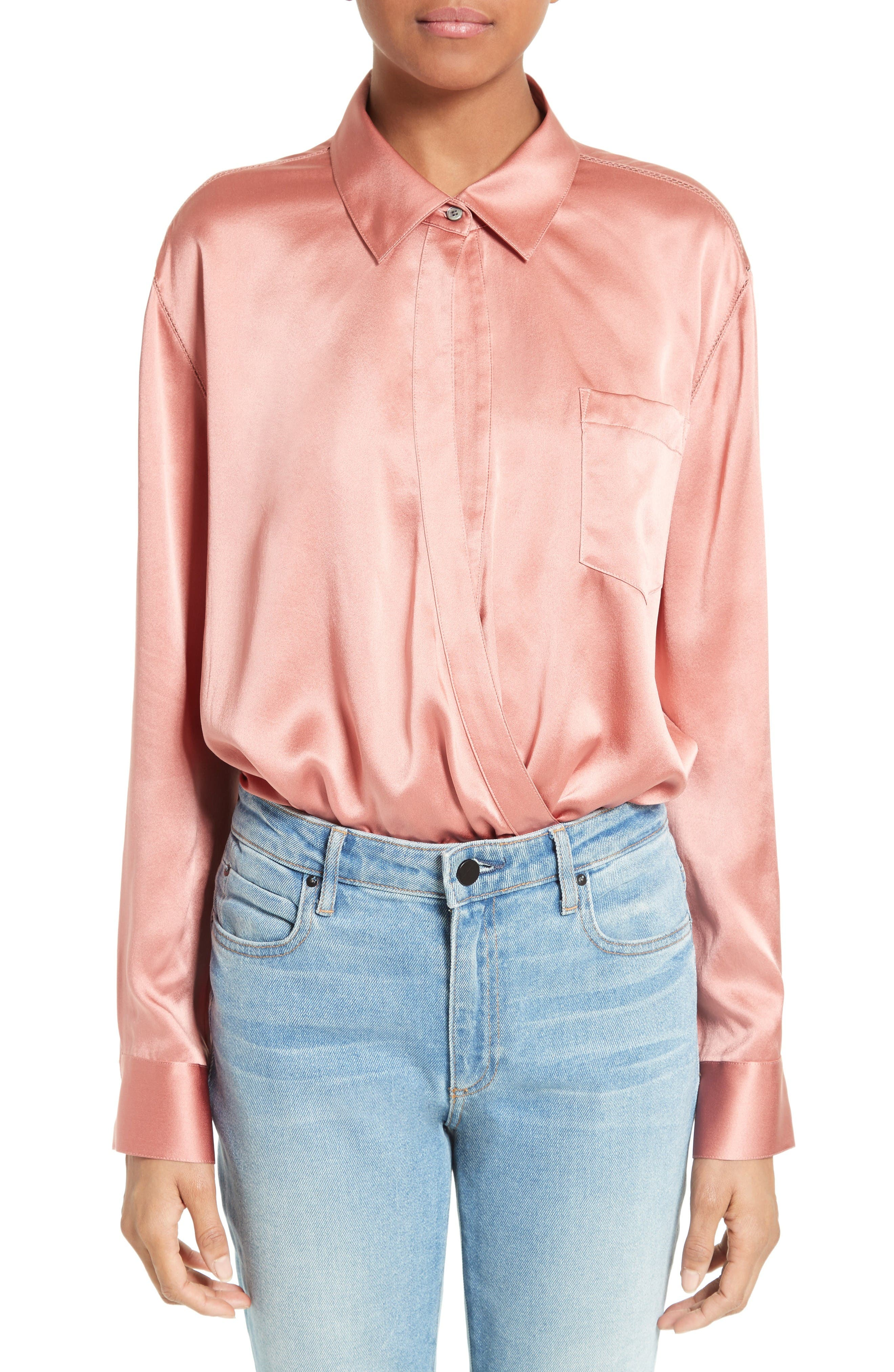 T by Alexander Wang Silk Wrap Shirt Bodysuit