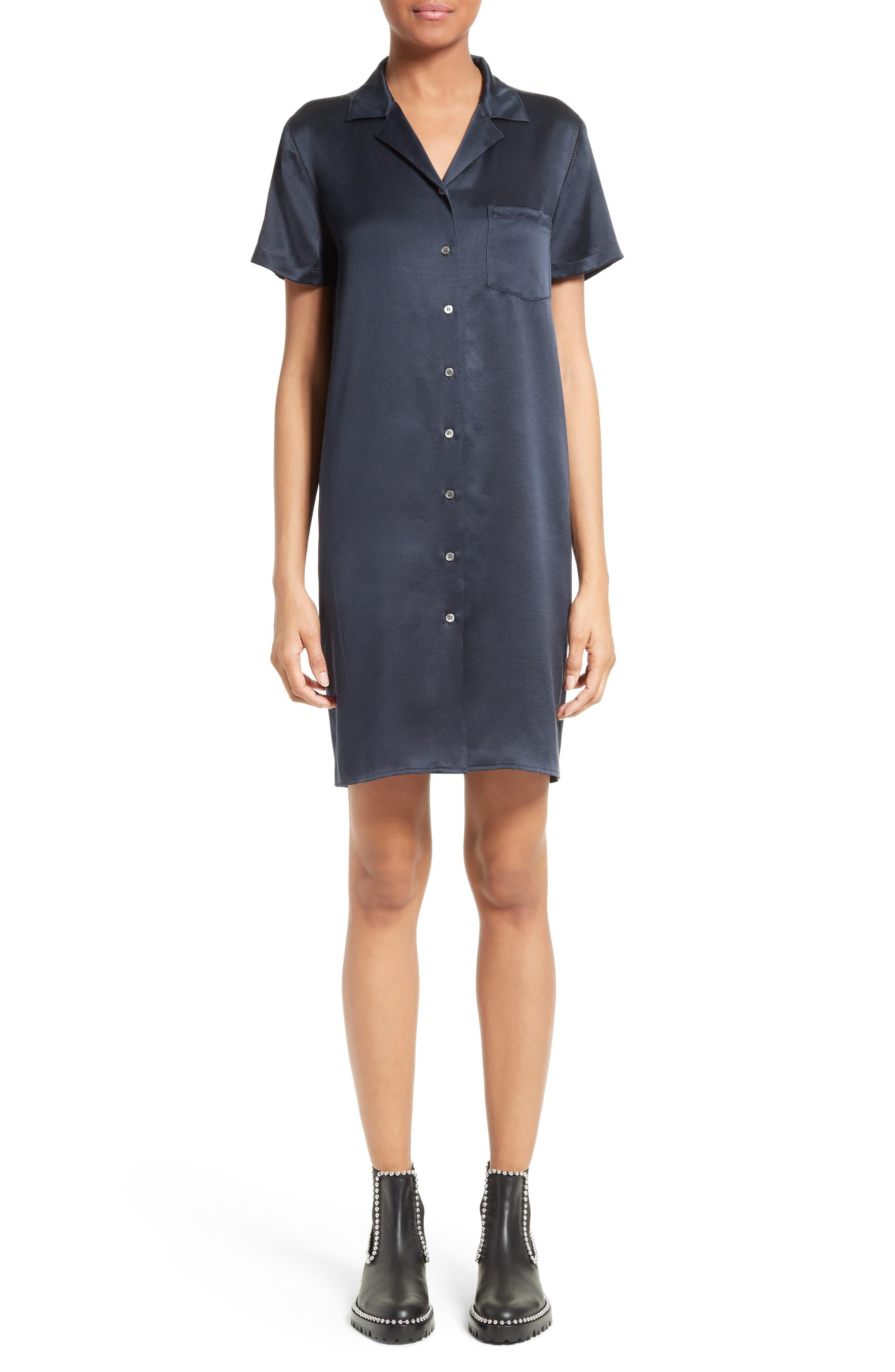 Silk Shirtdress,                         Main,                         color, Navy