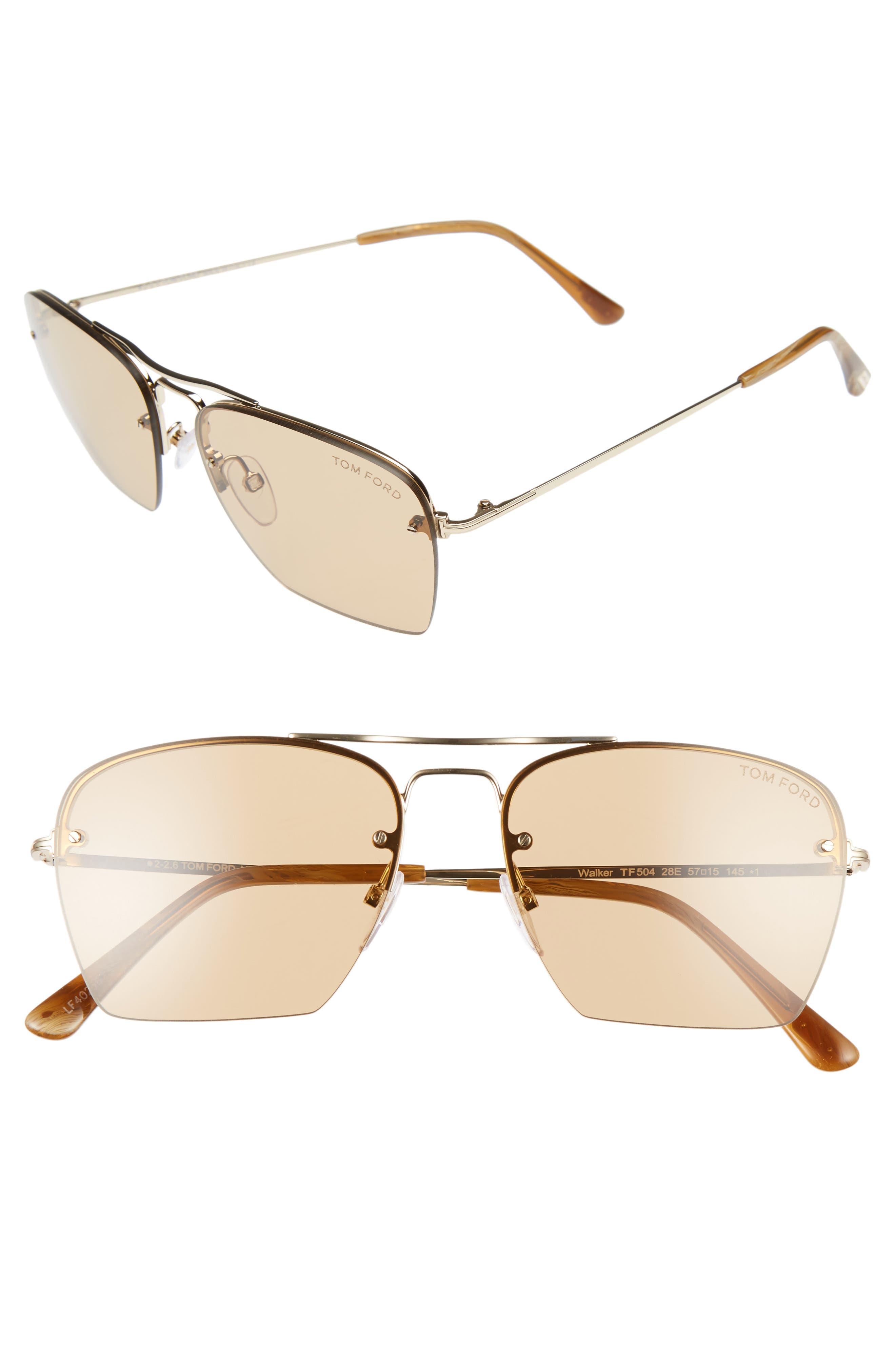 Walker 57mm Semi Rimless Square Sunglasses,                         Main,                         color, Rose Gold/ Brown