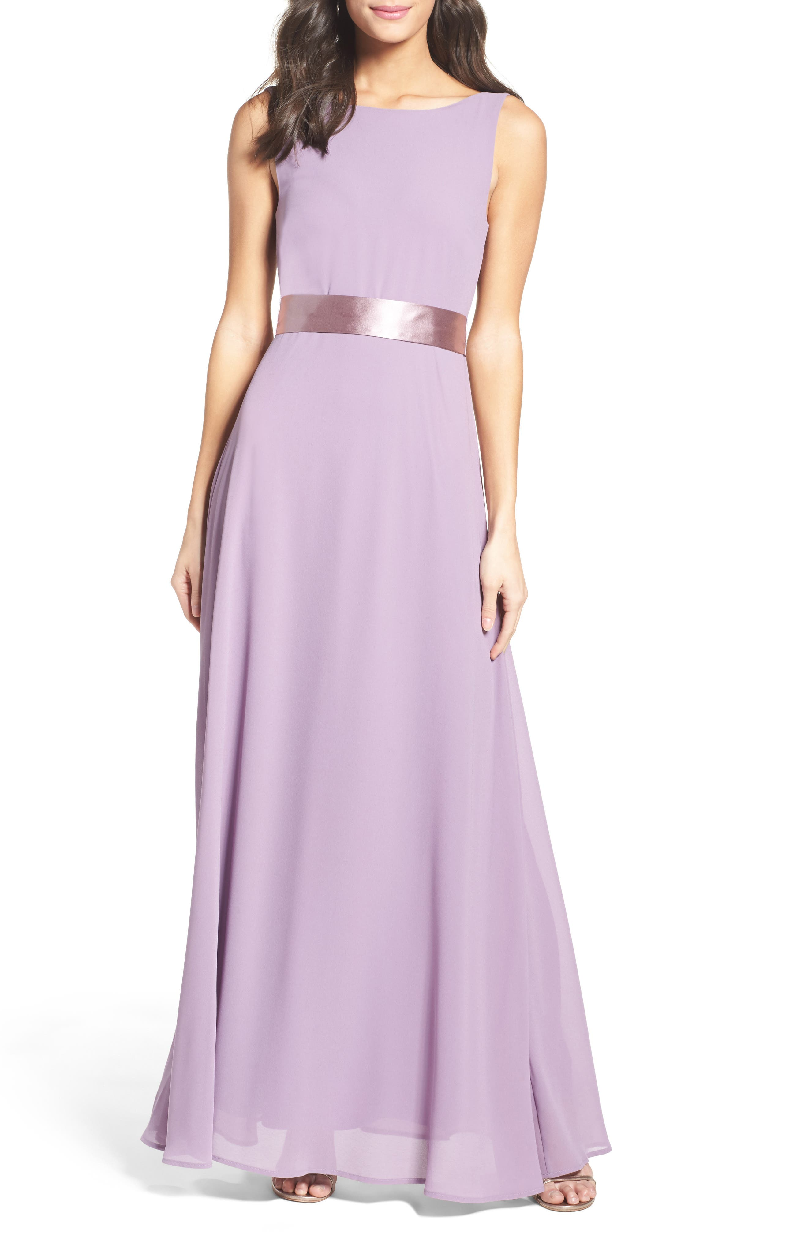 Belted V-Back Chiffon Gown,                         Main,                         color, Dusty Violet