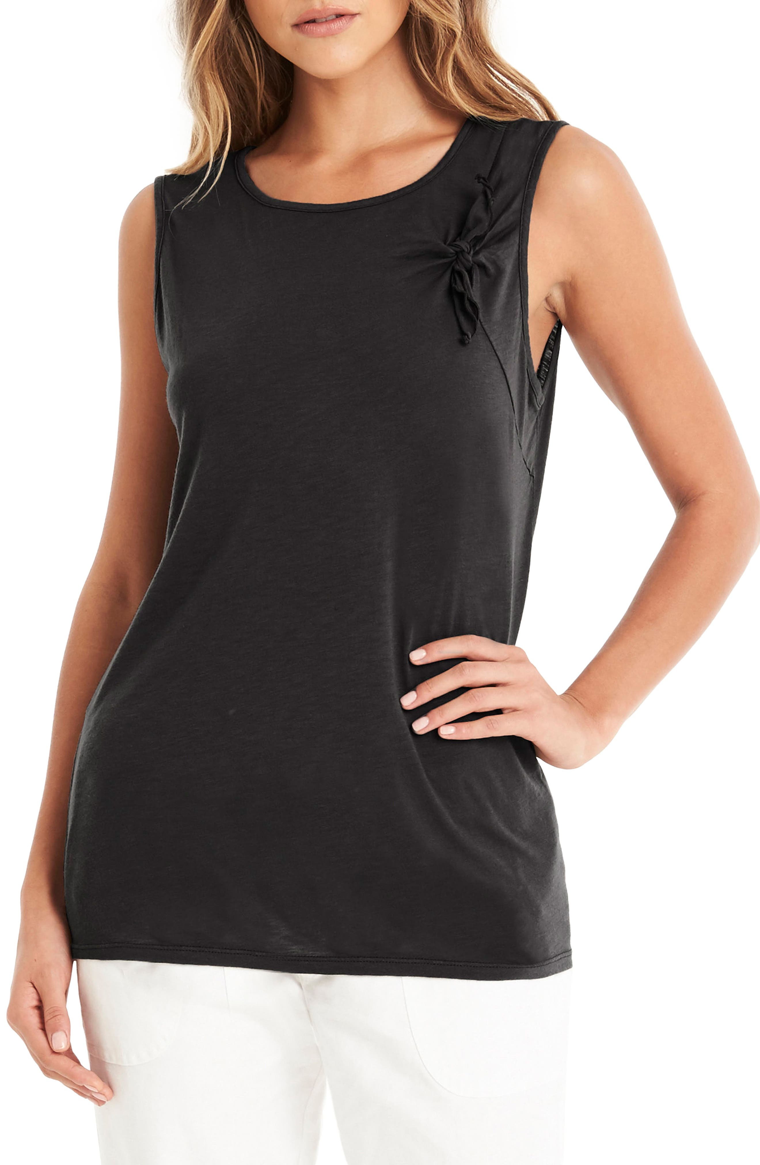 Knotted Tie Tank,                         Main,                         color, Black
