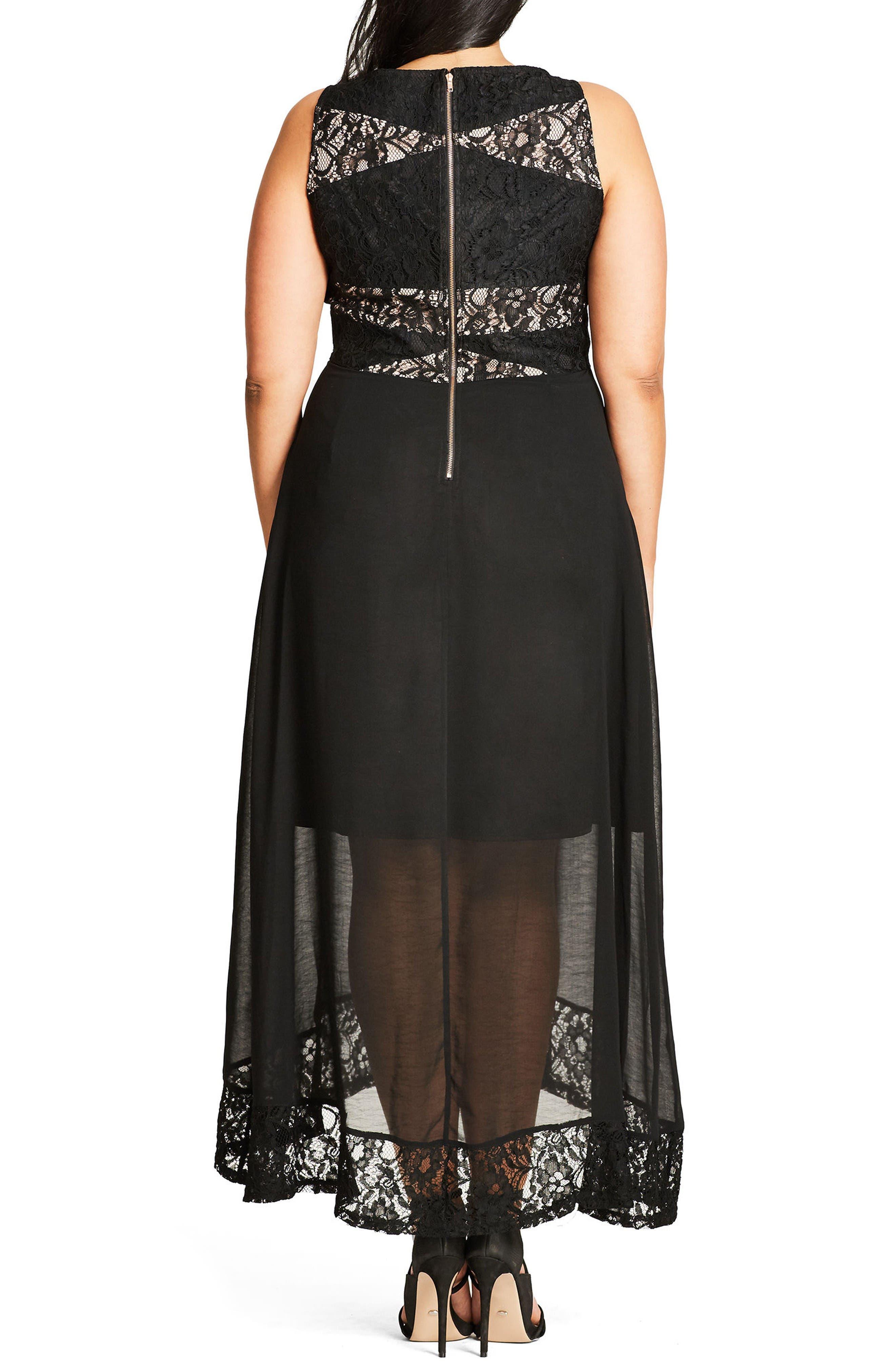 Seduction Lace & Chiffon Maxi Dress,                             Alternate thumbnail 2, color,                             Black