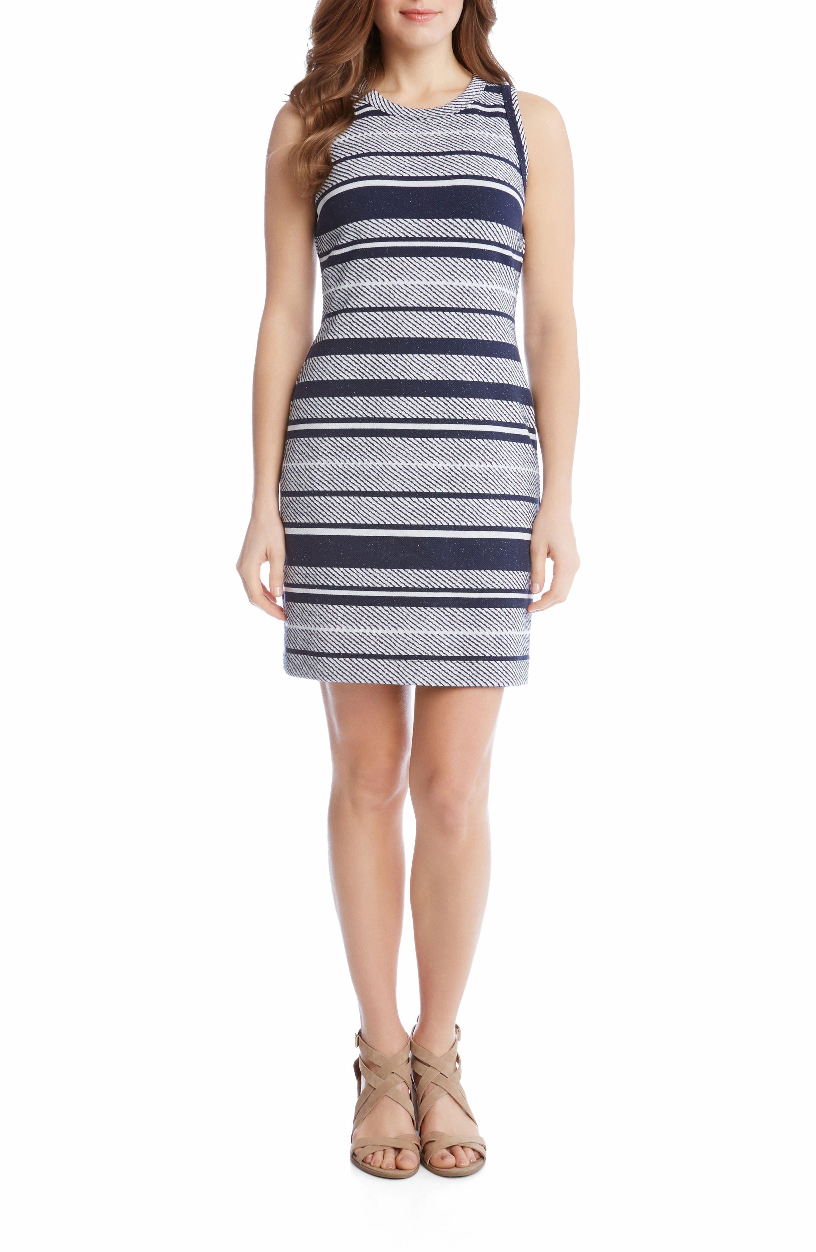 Stripe Jacquard Sheath Dress,                         Main,                         color, Stripe