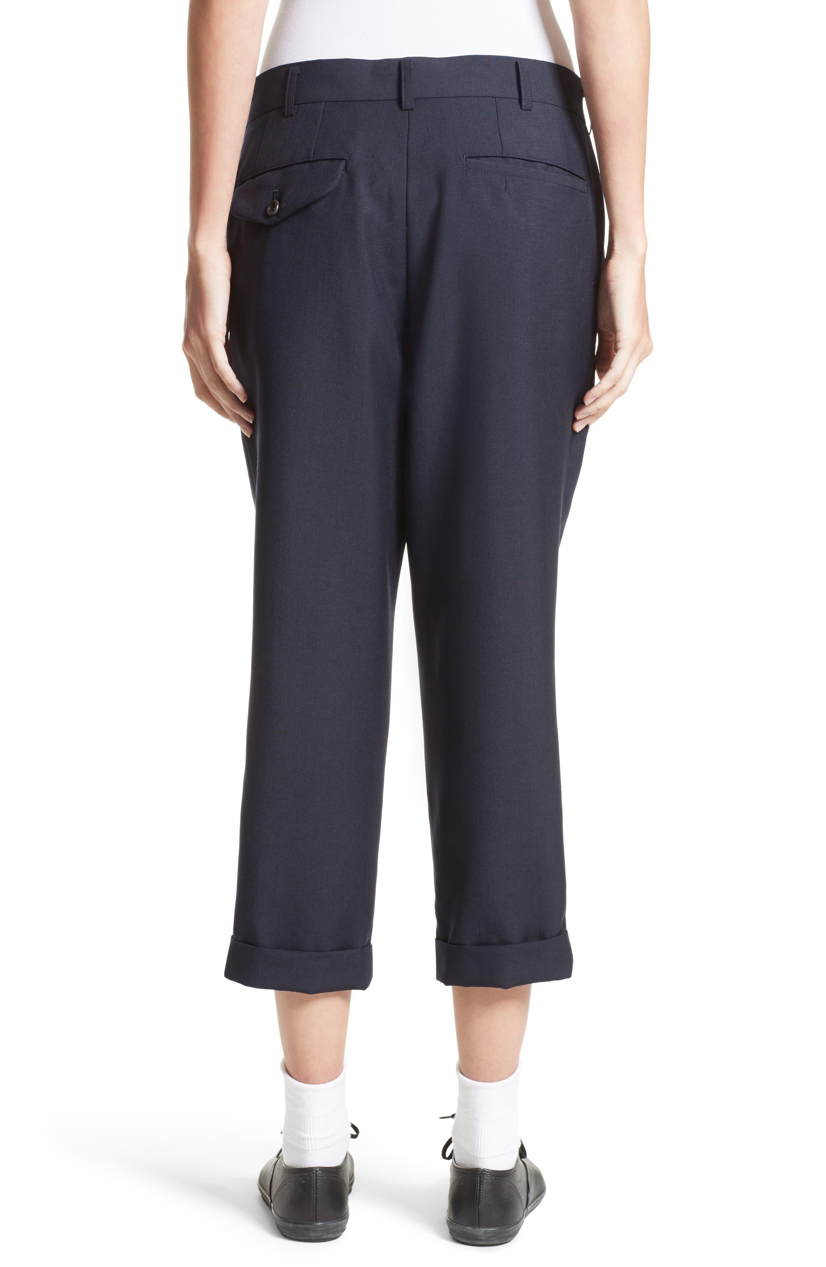 Tropical Wool & Kid Mohair Crop Pants,                             Alternate thumbnail 2, color,                             Navy