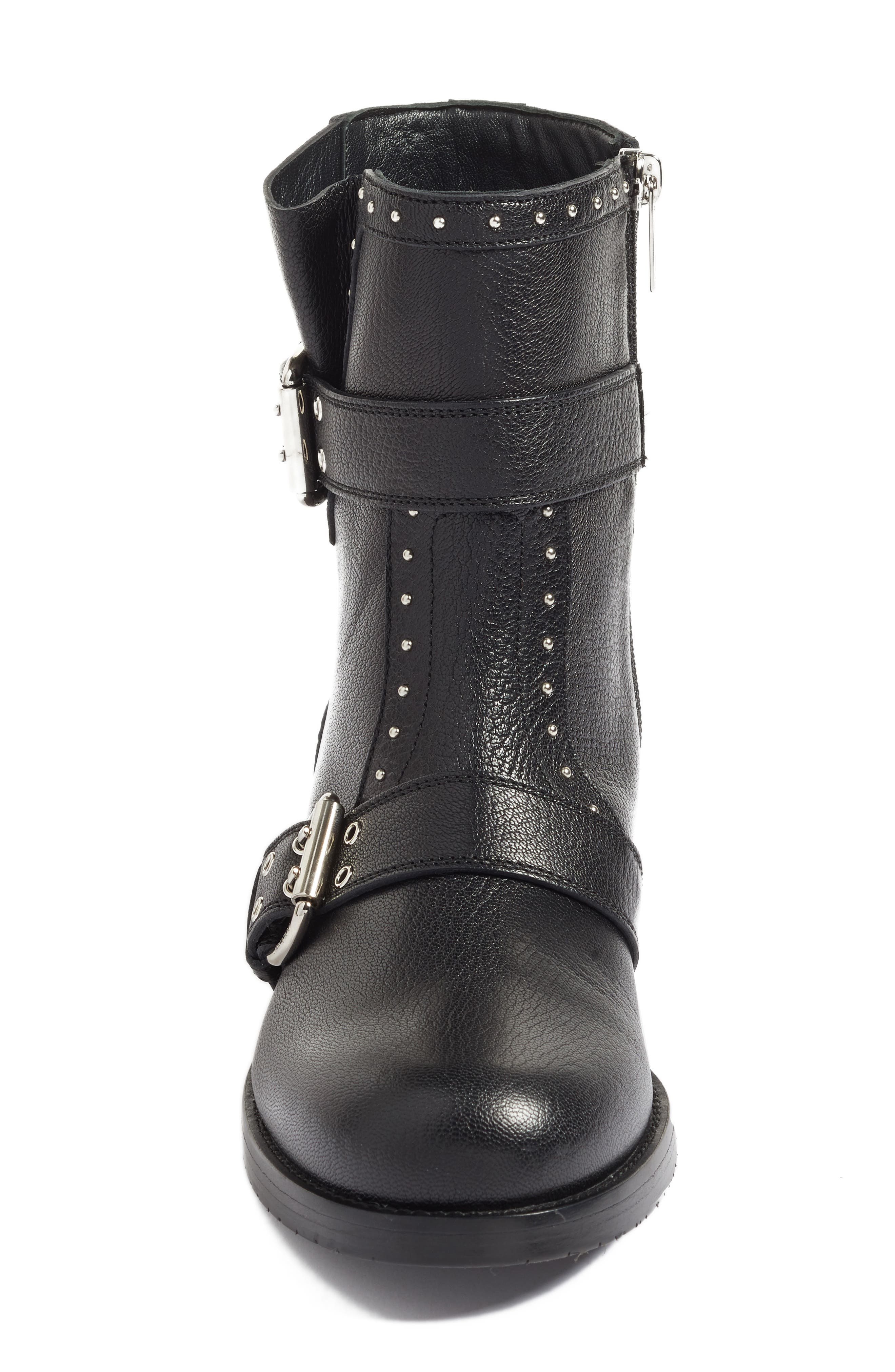 Blyss Combat Boot,                             Alternate thumbnail 4, color,                             Black Leather