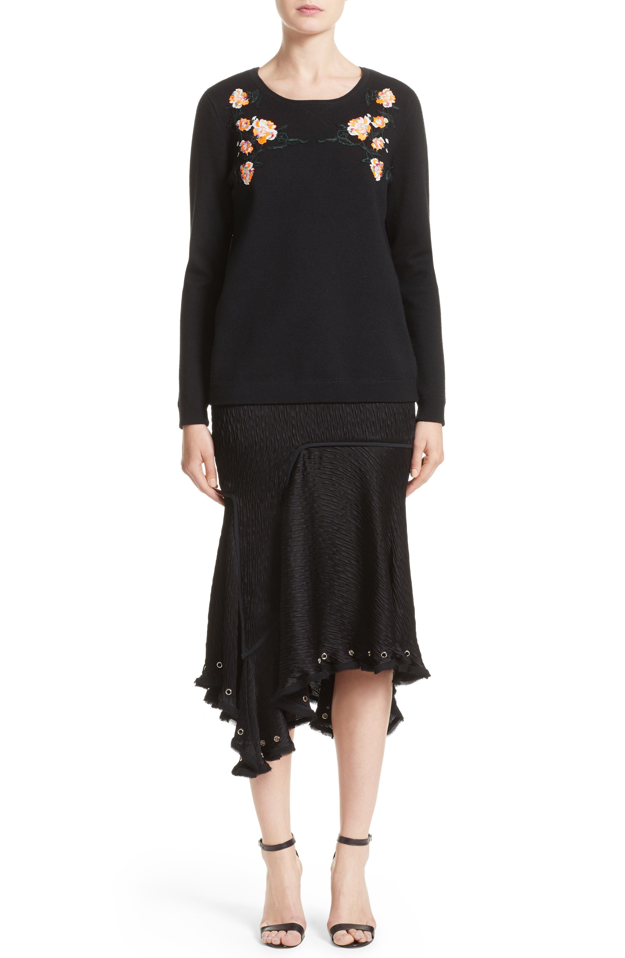 Floral Embroidered Merino Wool Blend Sweater,                             Alternate thumbnail 8, color,                             Black