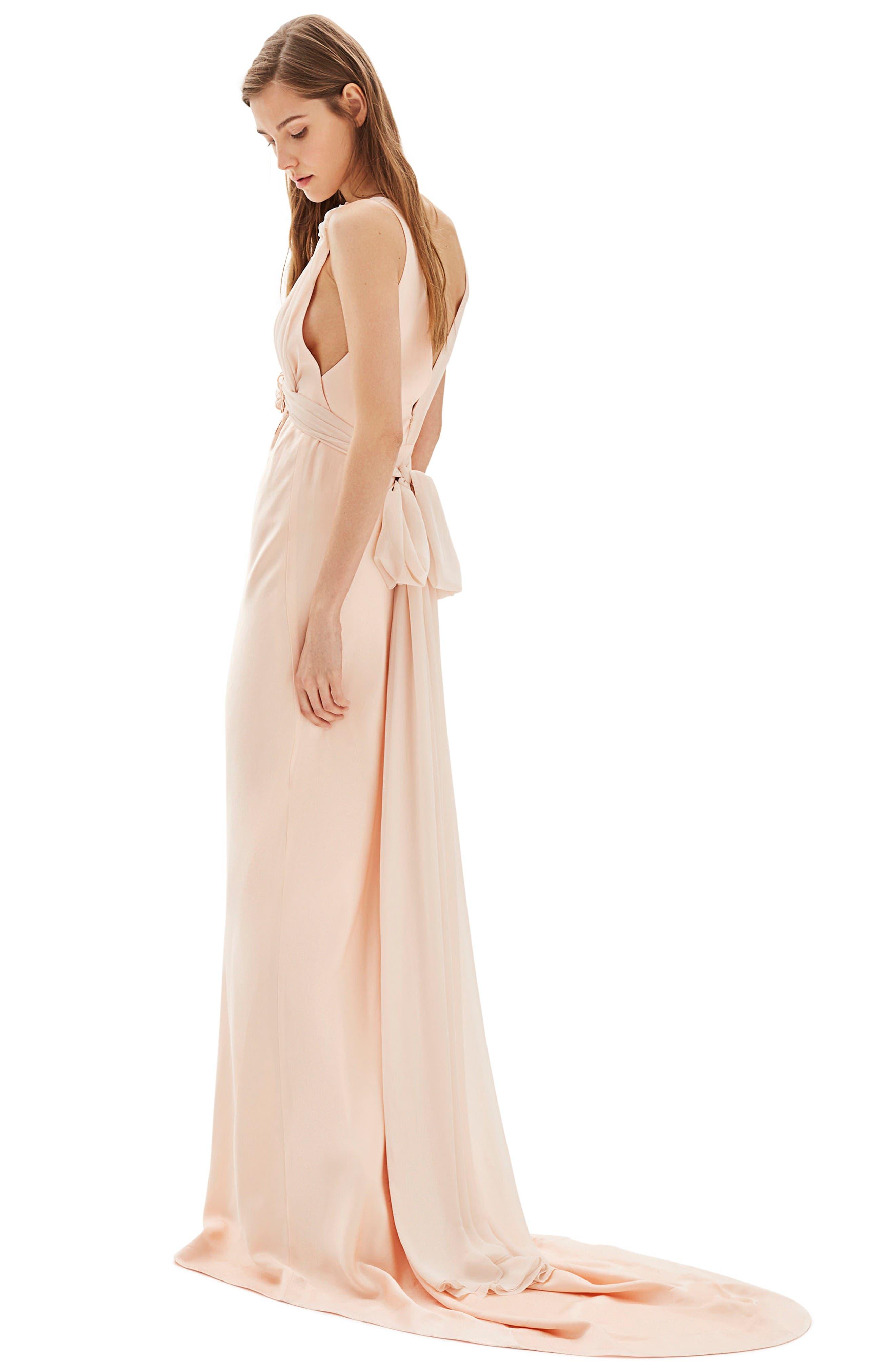Bride Floral Appliqué Sheath Gown,                         Main,                         color, Nude
