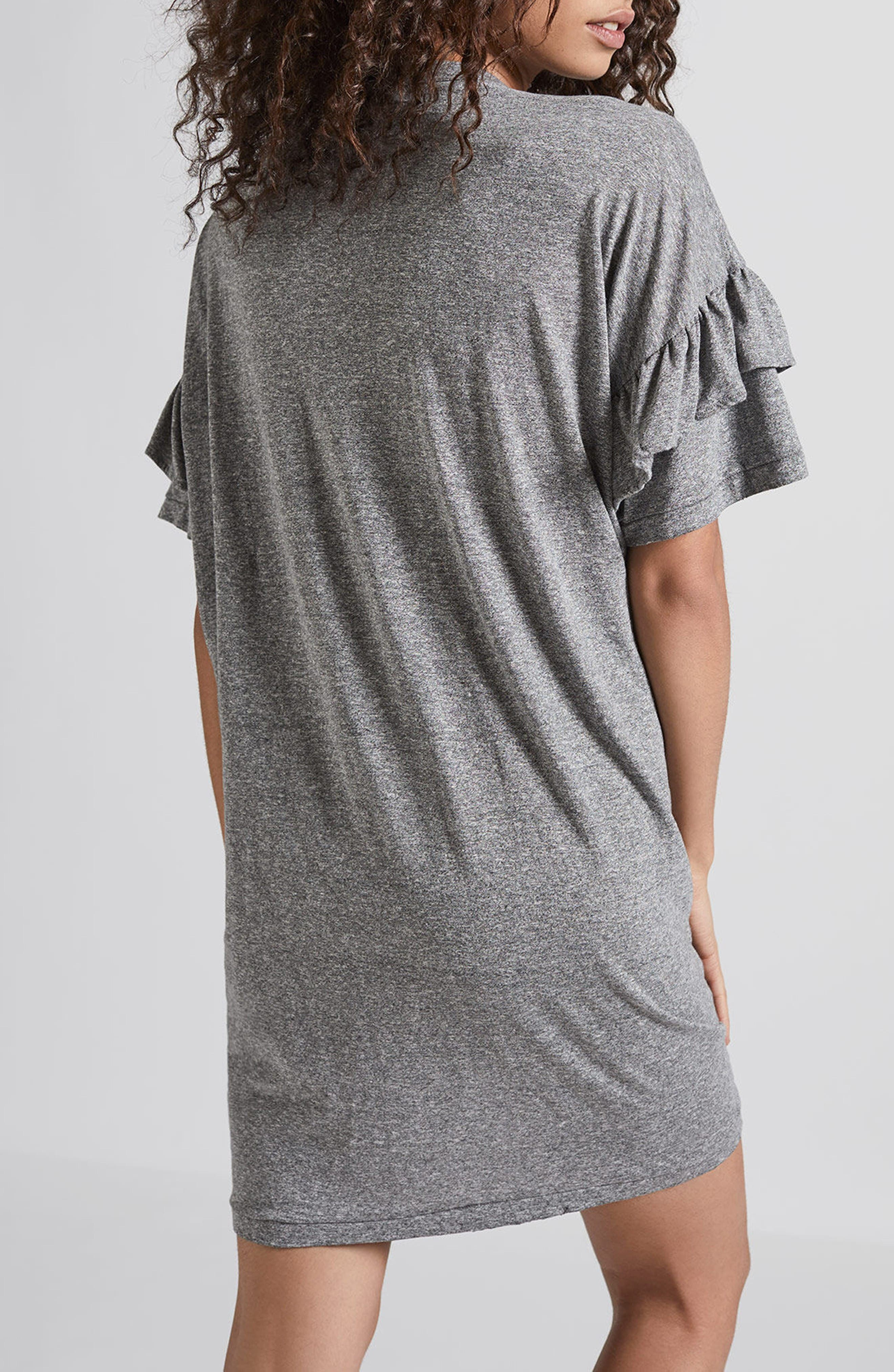 Ruffle Roadie T-Shirt Dress,                             Alternate thumbnail 2, color,                             Heather Grey