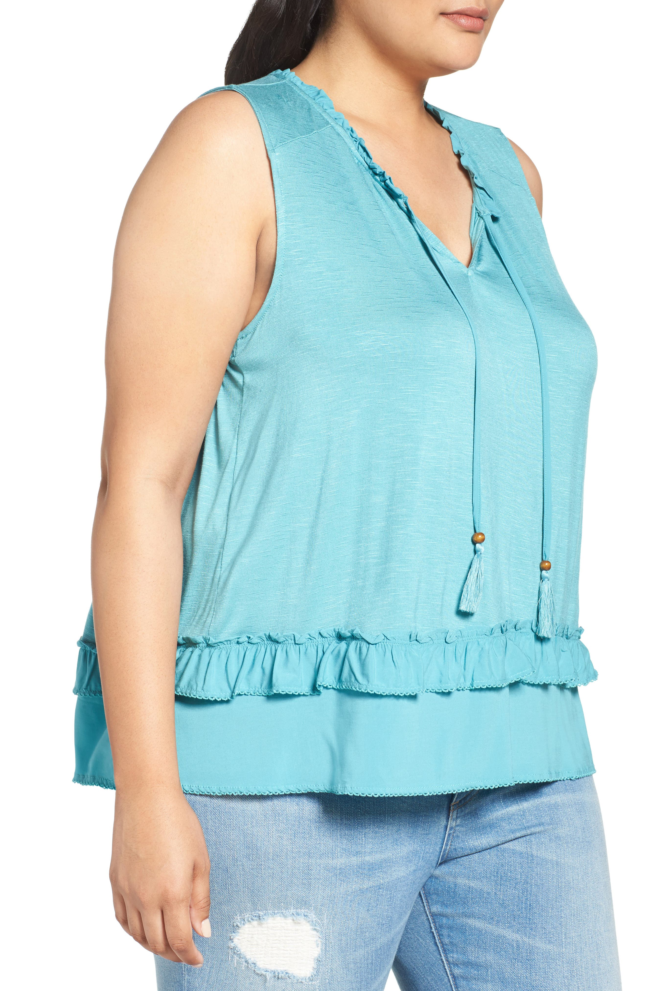 Alternate Image 3  - Democracy Ruffle Trim Tie Neck Top (Plus Size)