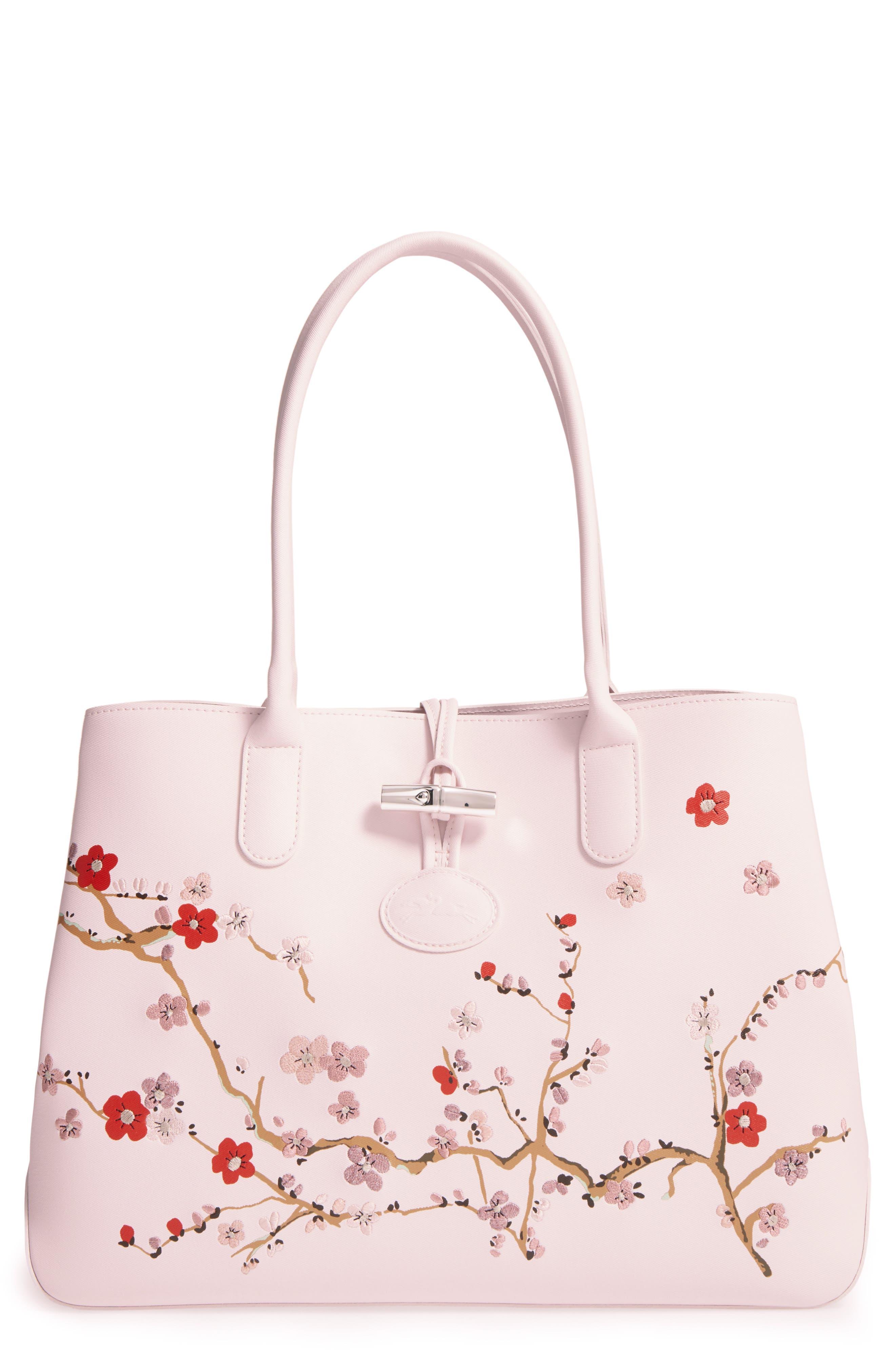 Main Image - Longchamp Roseau Sakura Embroidered Leather Shoulder Tote